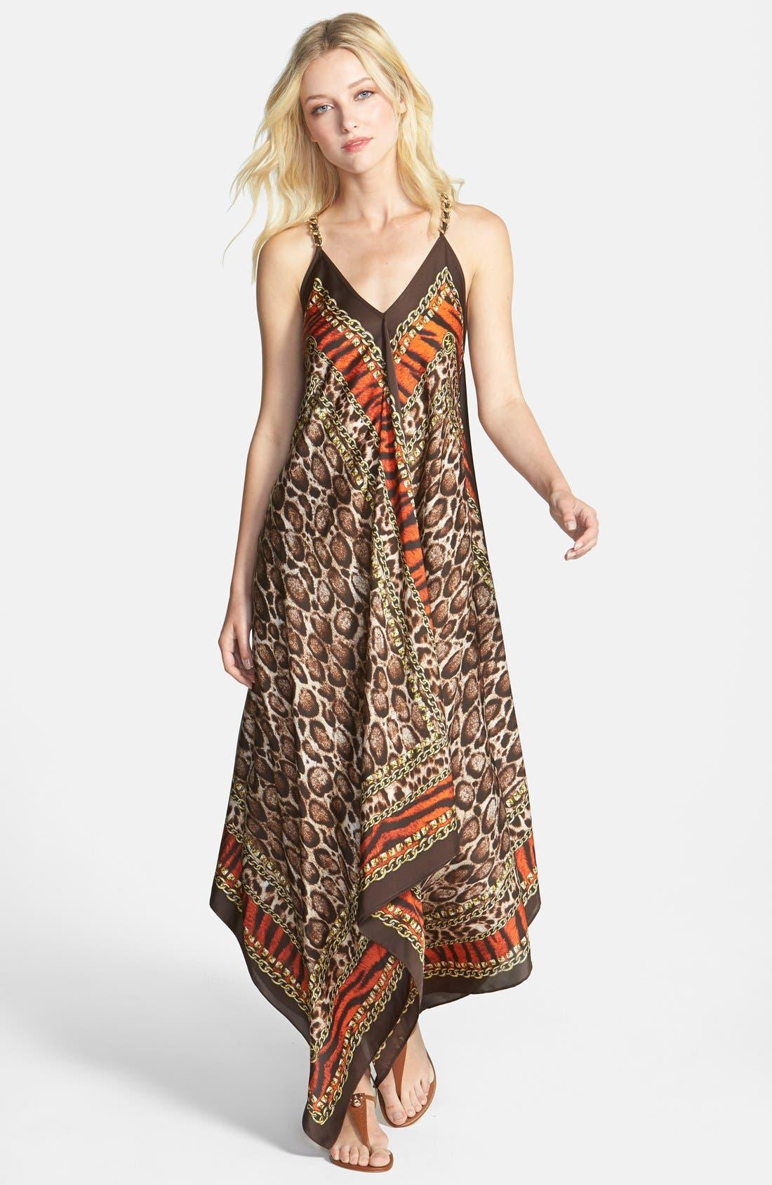 Main Image - MICHAEL Michael Kors 'Kasai' Scarf Print V-Neck Maxi Dress