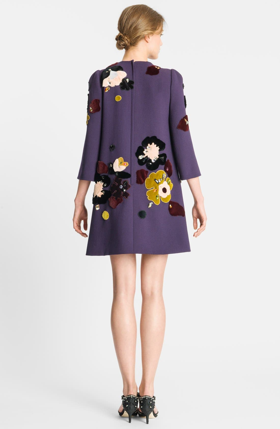 Alternate Image 2  - Dolce&Gabbana Genuine Rabbit Fur Embroidered Crepe Dress