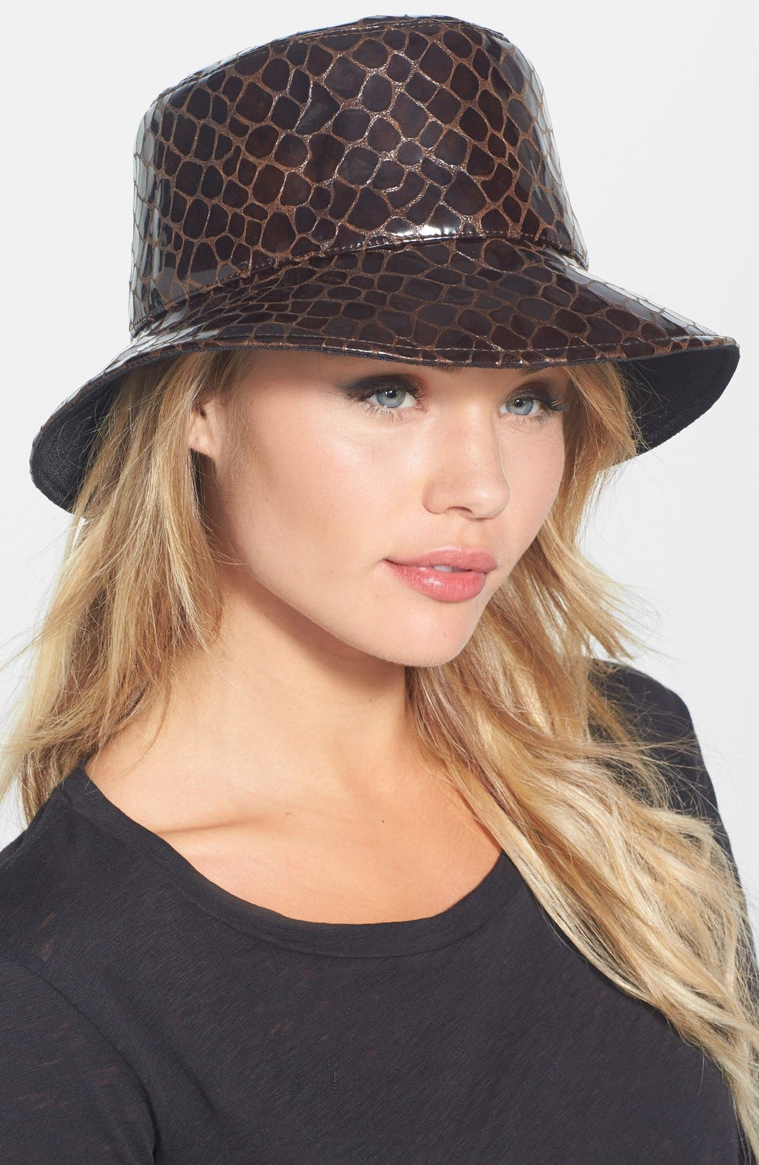 Alternate Image 1 Selected - Eric Javits Croc Embossed Patent Rain Hat