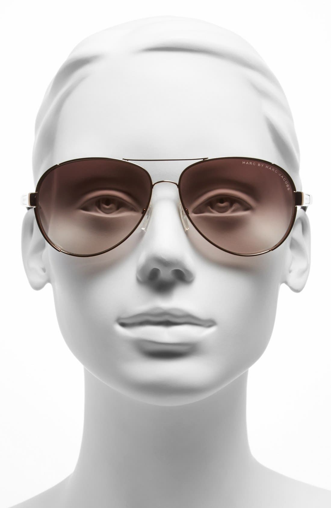 Alternate Image 2  - MARC BY MARC JACOBS 60mm Stainless Steel Aviator Sunglasses