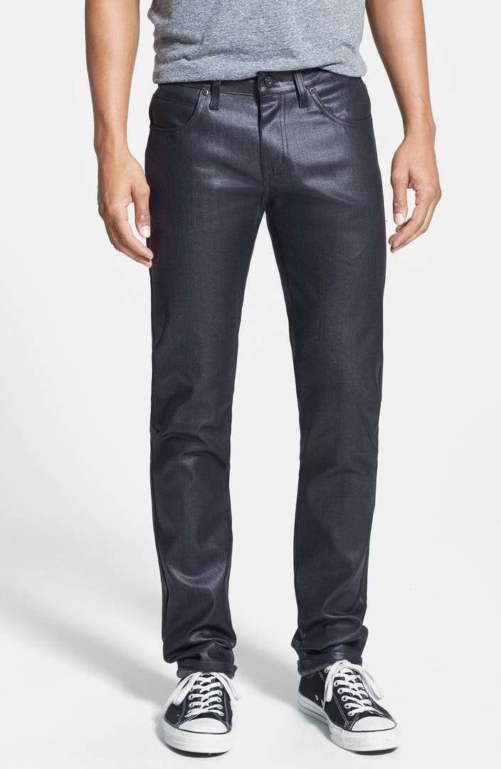 Mens Black Waxed Skinny Jeans