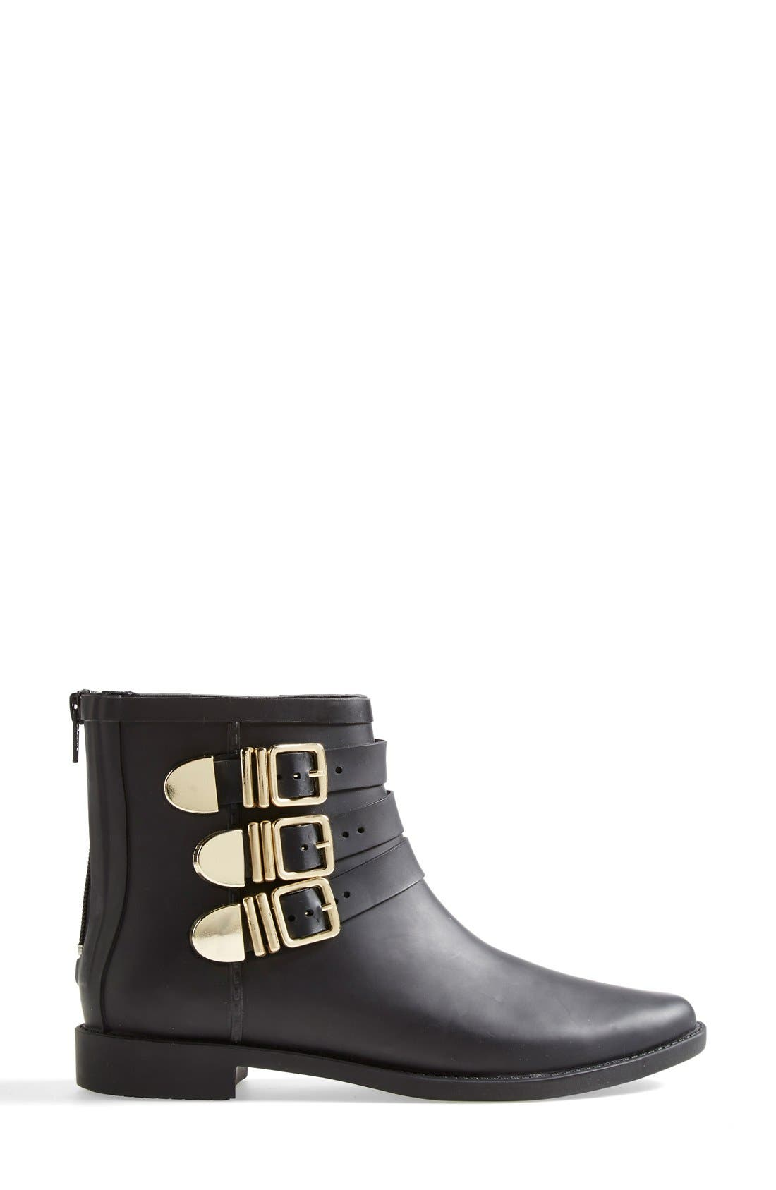 'Fenton' Rain Boot,                             Alternate thumbnail 4, color,                             Black/ Gold