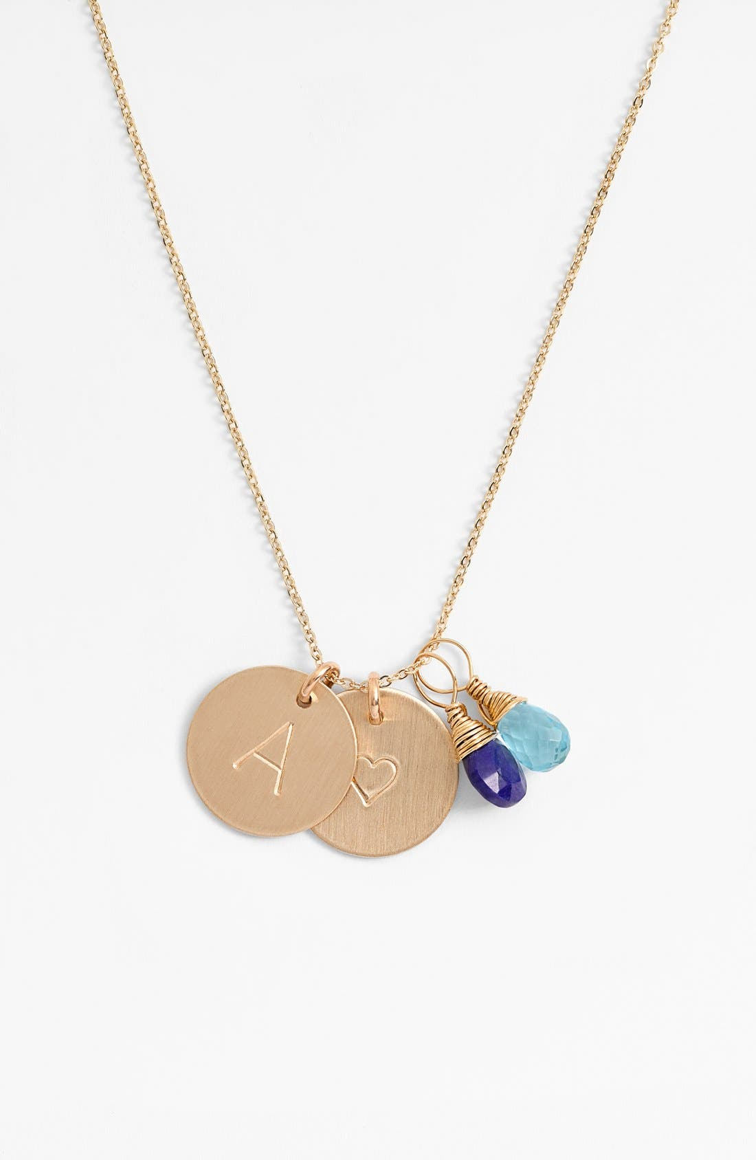 Nashelle Blue Quartz Initial & Heart 14k-Gold Fill Disc Necklace