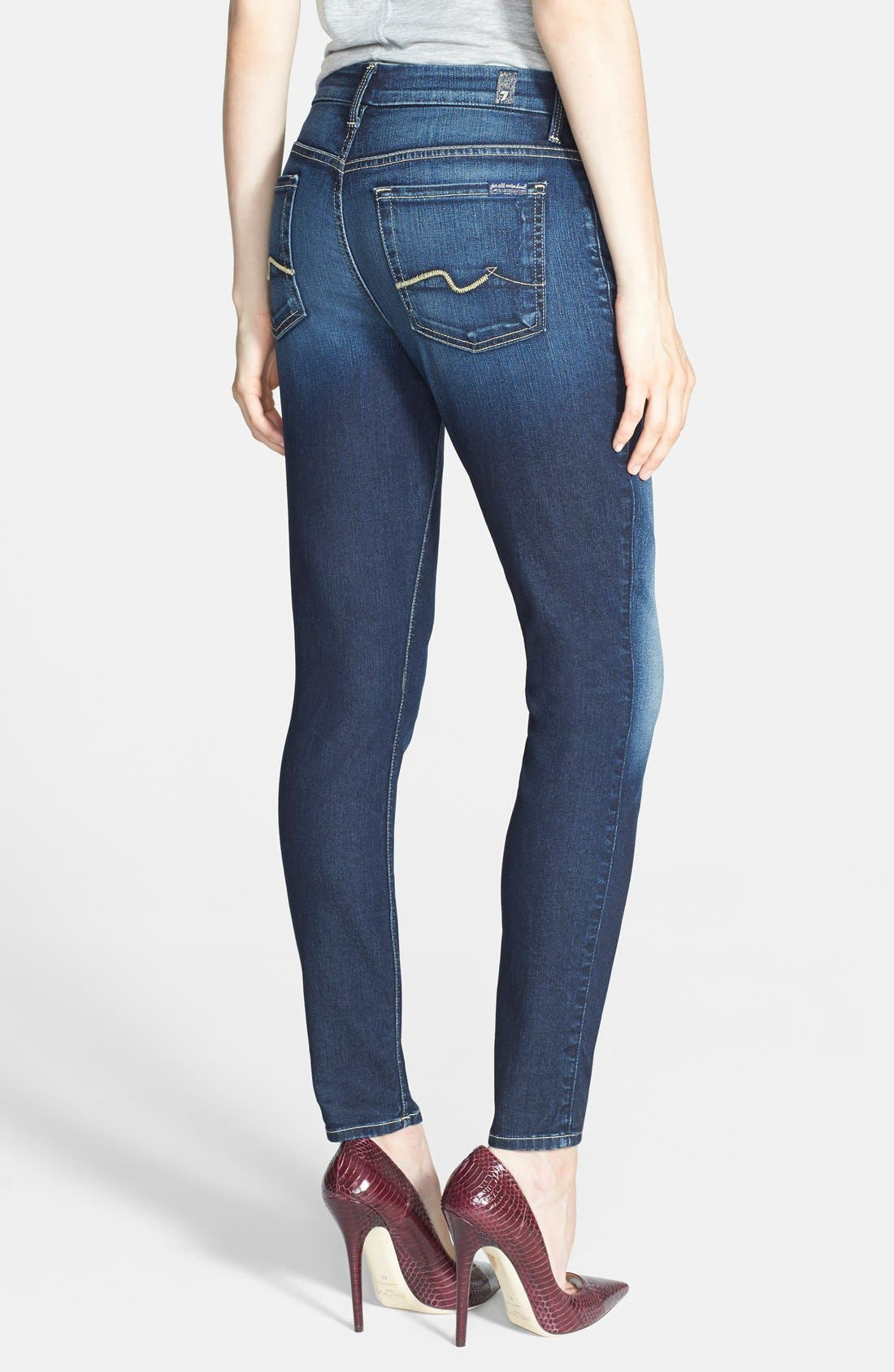 Alternate Image 2  - 7 For All Mankind® High Rise Ankle Skinny Jeans (Riche Touch Medium Dark)