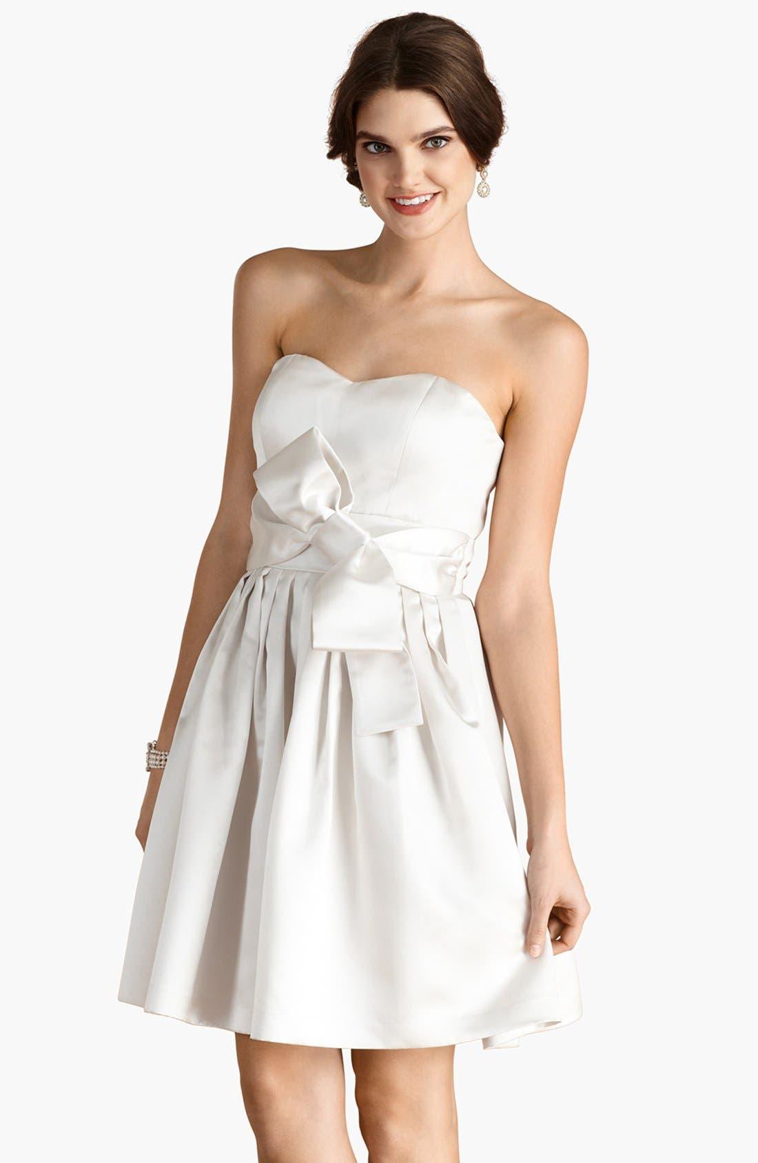 'Samantha' Belted Satin Fit & Flare Dress,                         Main,                         color, Off White