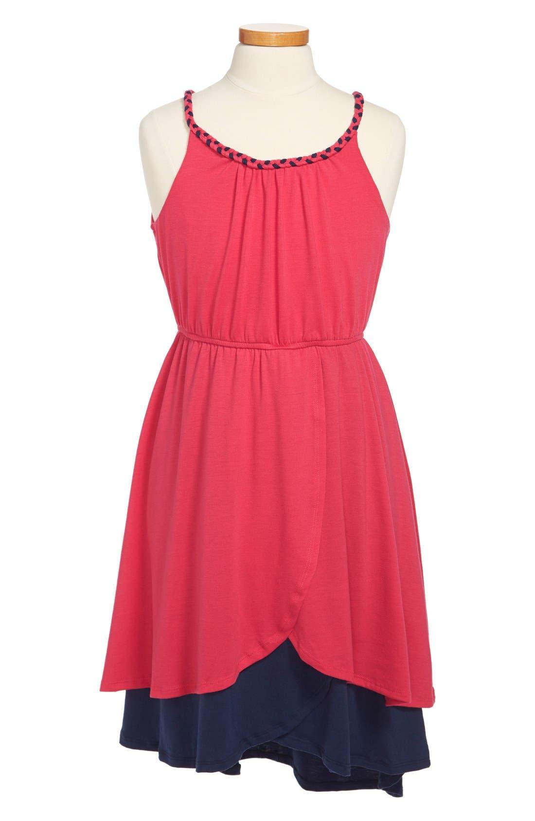 Alternate Image 1 Selected - Paper Doll Colorblock Tulip Skirt Dress (Little Girls & Big Girls)