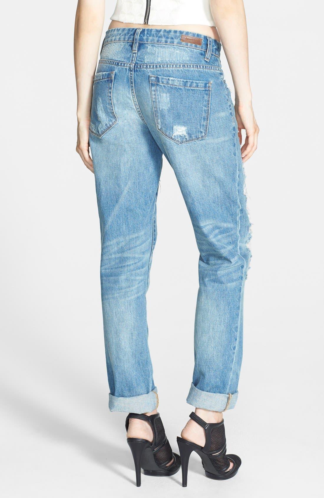 Alternate Image 2  - BLANKNYC Destroyed Boyfriend Jeans (Torn to Shreds)