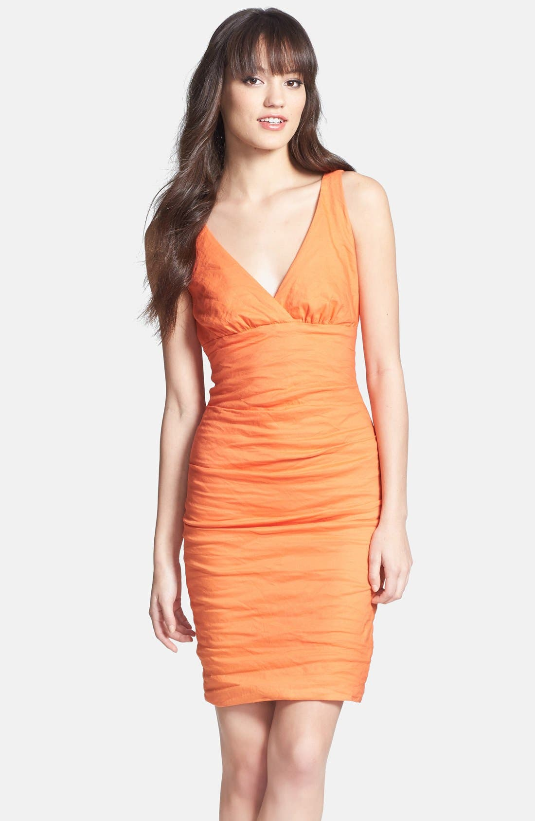 Alternate Image 1 Selected - Nicole Miller Ruched Techno Metal Sheath Dress
