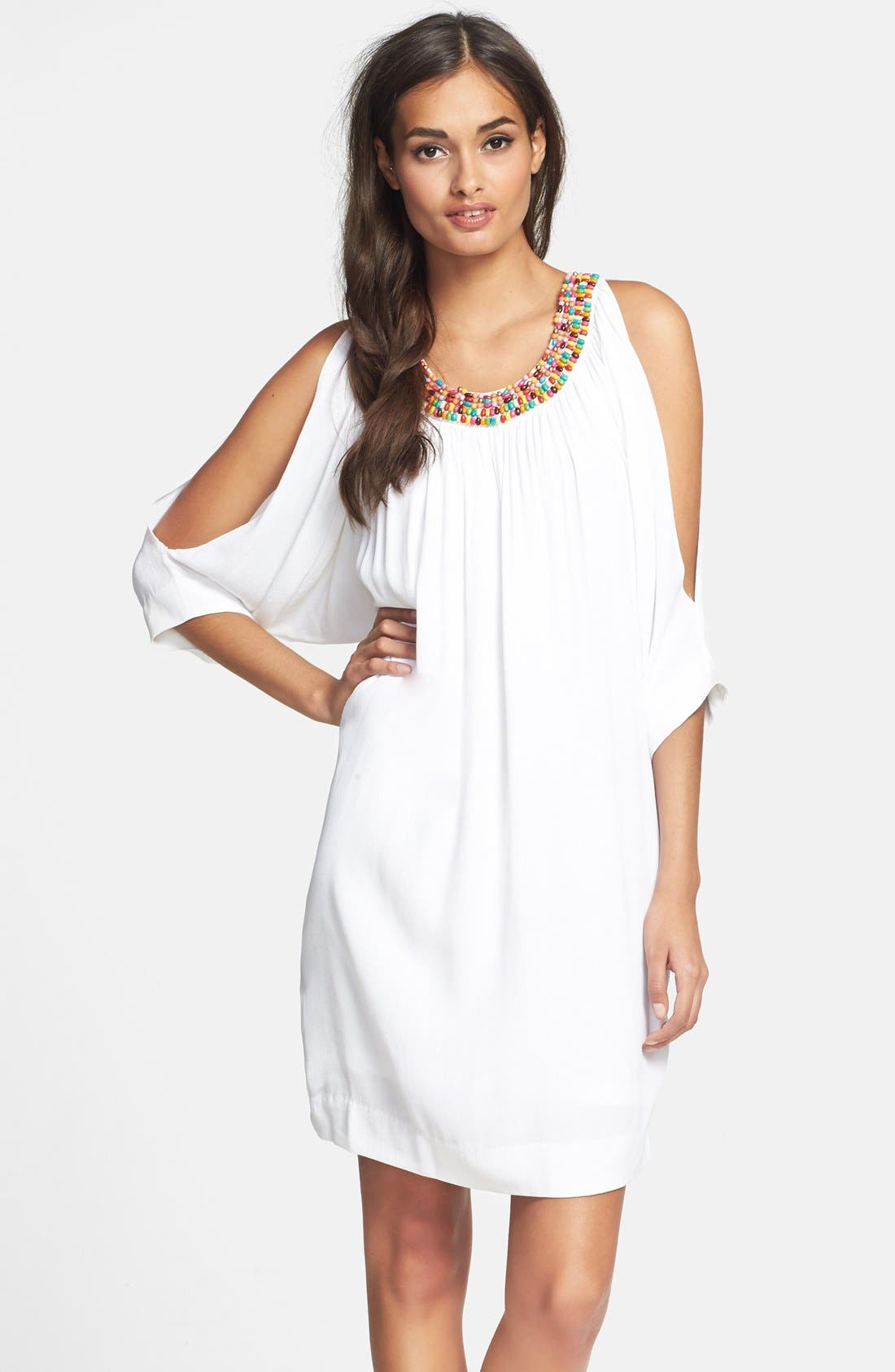 Main Image - Nicole Miller Embellished Split Sleeve Crepe Dress