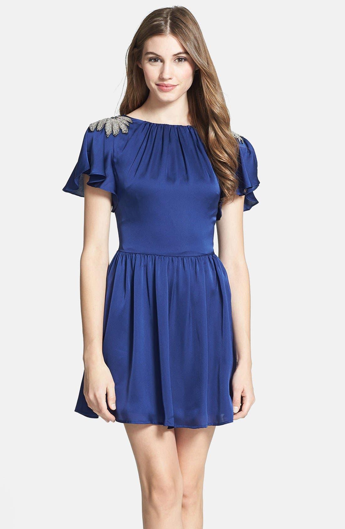 Main Image - Jarlo Embellished Satin Fit & Flare Dress