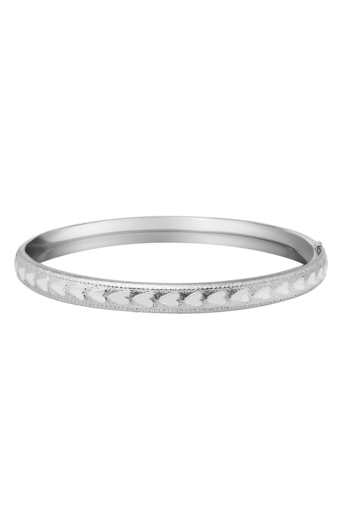 'Heart' Sterling Silver Bracelet,                         Main,                         color, Silver