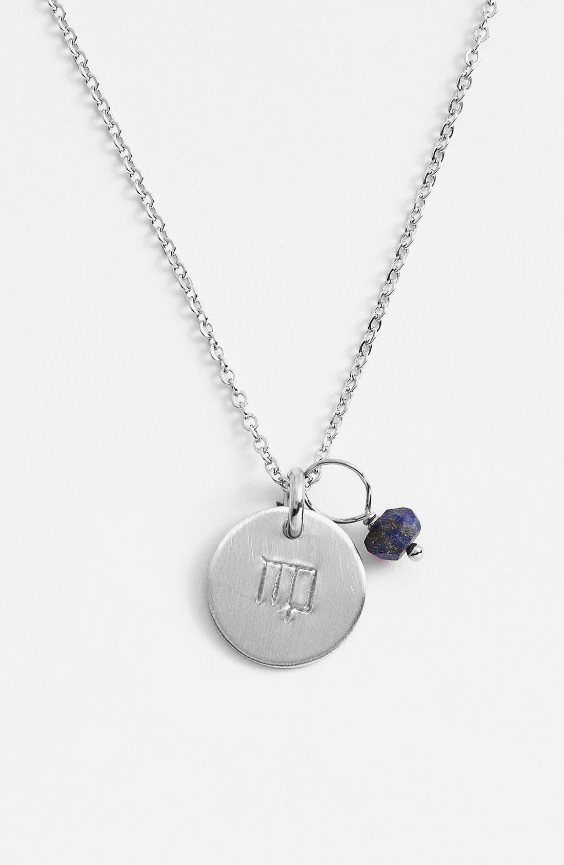 Semiprecious Birthstone Sterling Silver Zodiac Mini Disc Necklace,                         Main,                         color, Virgo