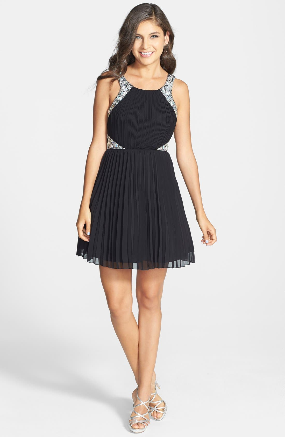Alternate Image 3  - Way-In Embellished Pleated Skater Dress (Juniors)