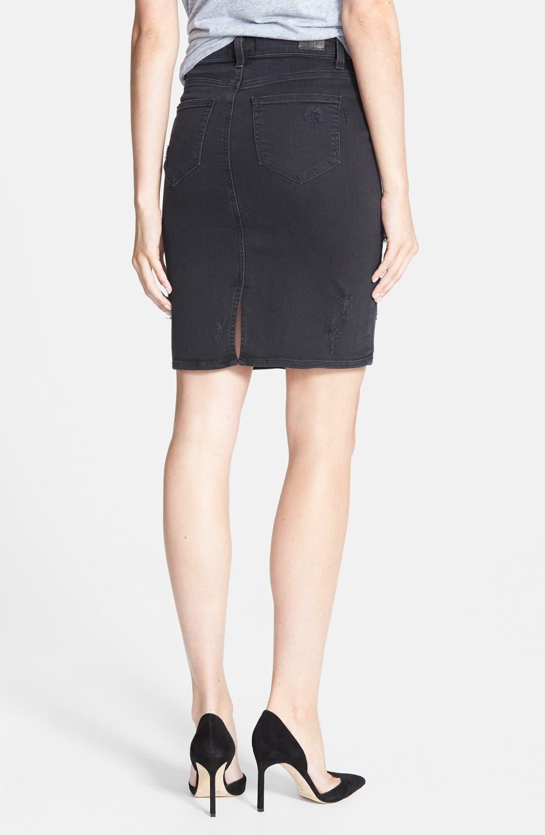 Alternate Image 2  - Paige Denim 'Deirdre' Destroyed Denim Pencil Skirt (Ramone Destructed)