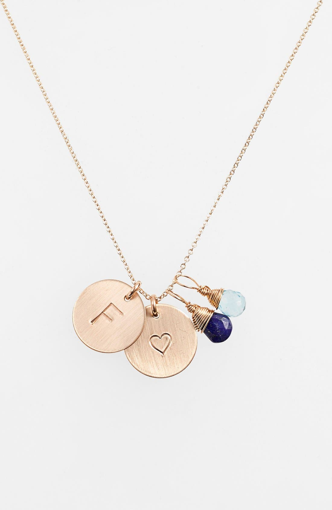 Blue Quartz Initial & Heart 14k-Gold Fill Disc Necklace,                             Main thumbnail 1, color,                             Royal Blue And Ocean Blue F