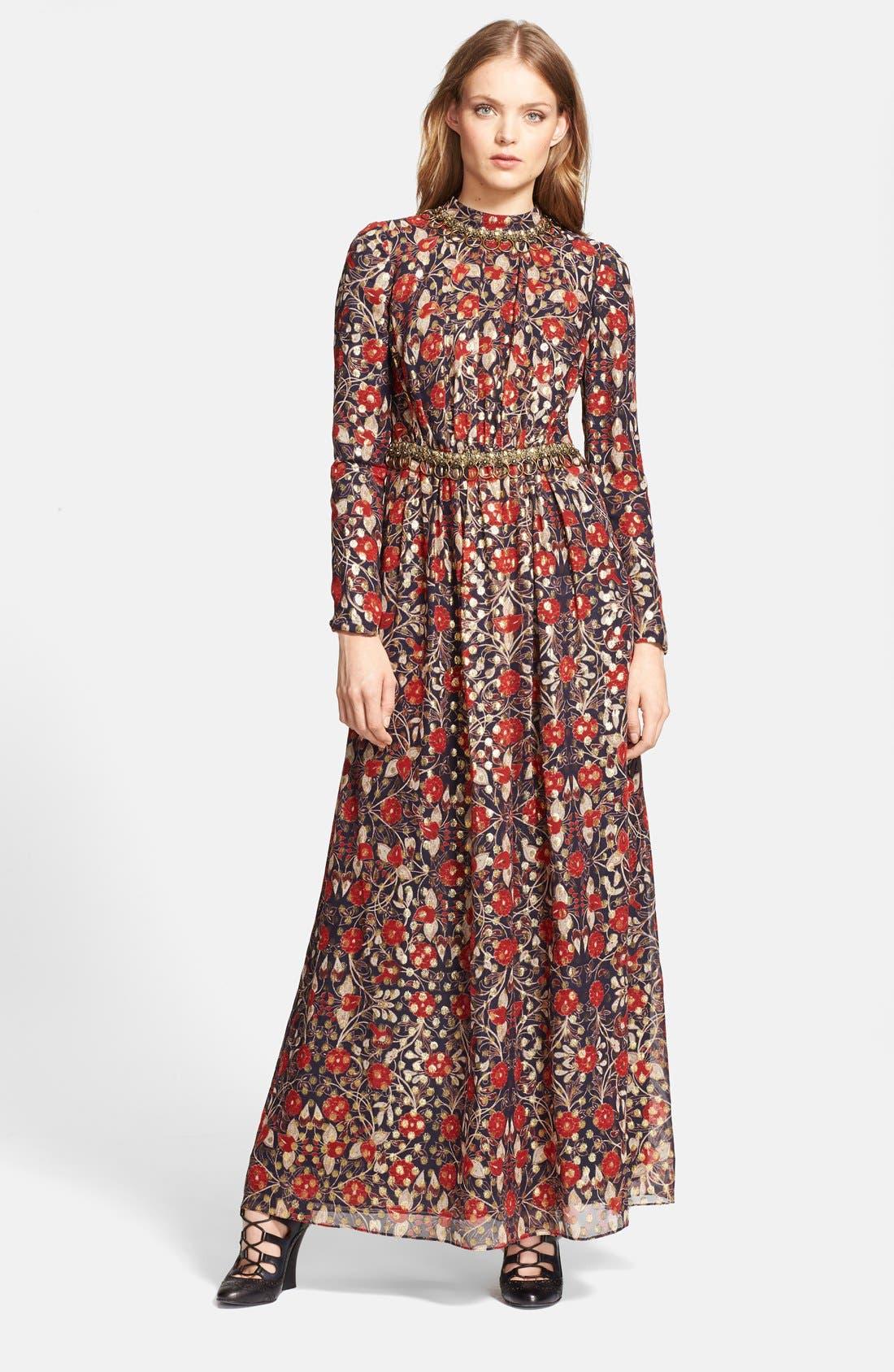 'Leane' Floral Print Embellished Gown,                             Main thumbnail 1, color,                             Arras
