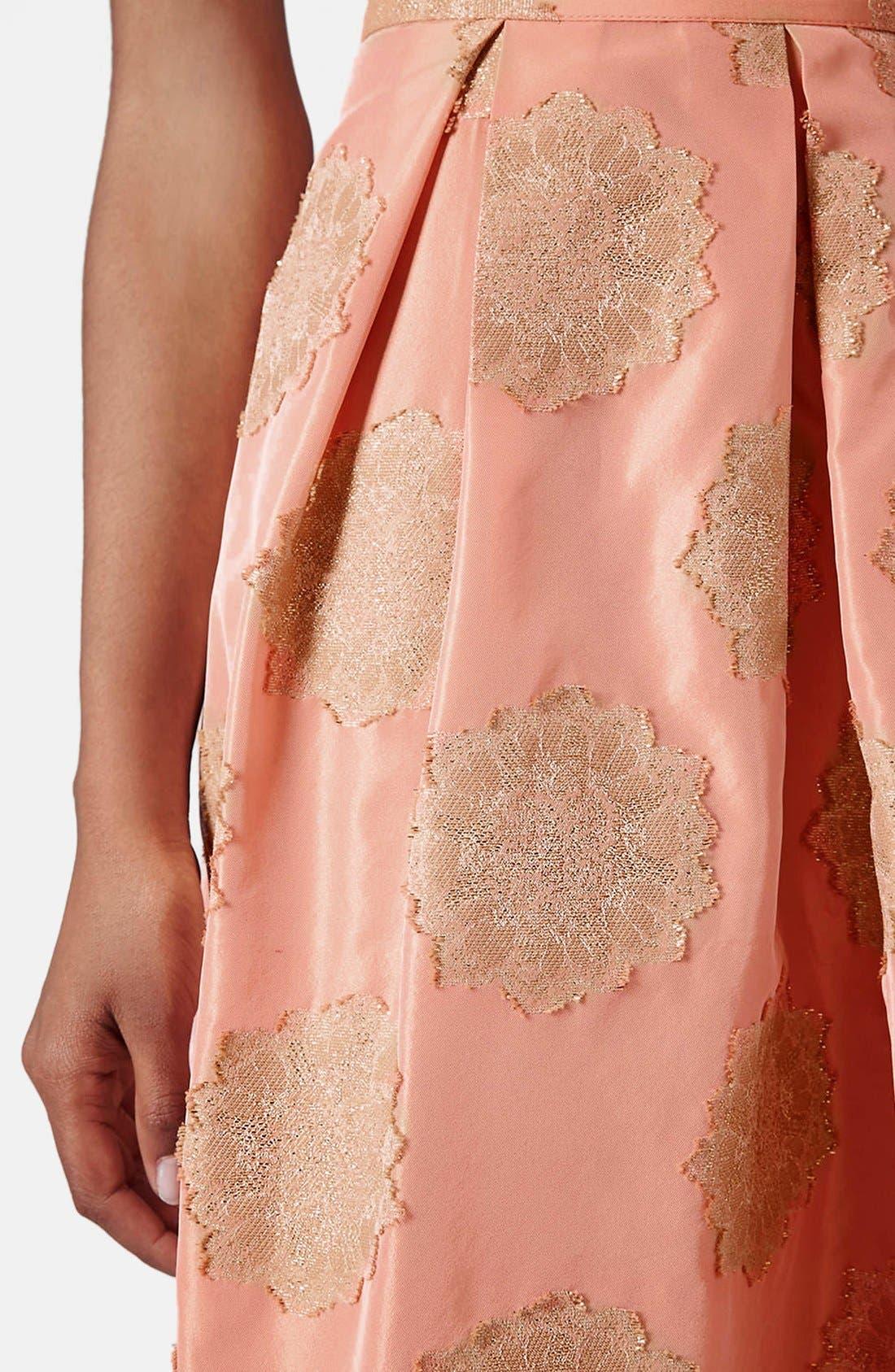 Alternate Image 3  - Topshop Metallic Lace Jacquard Midi Skirt