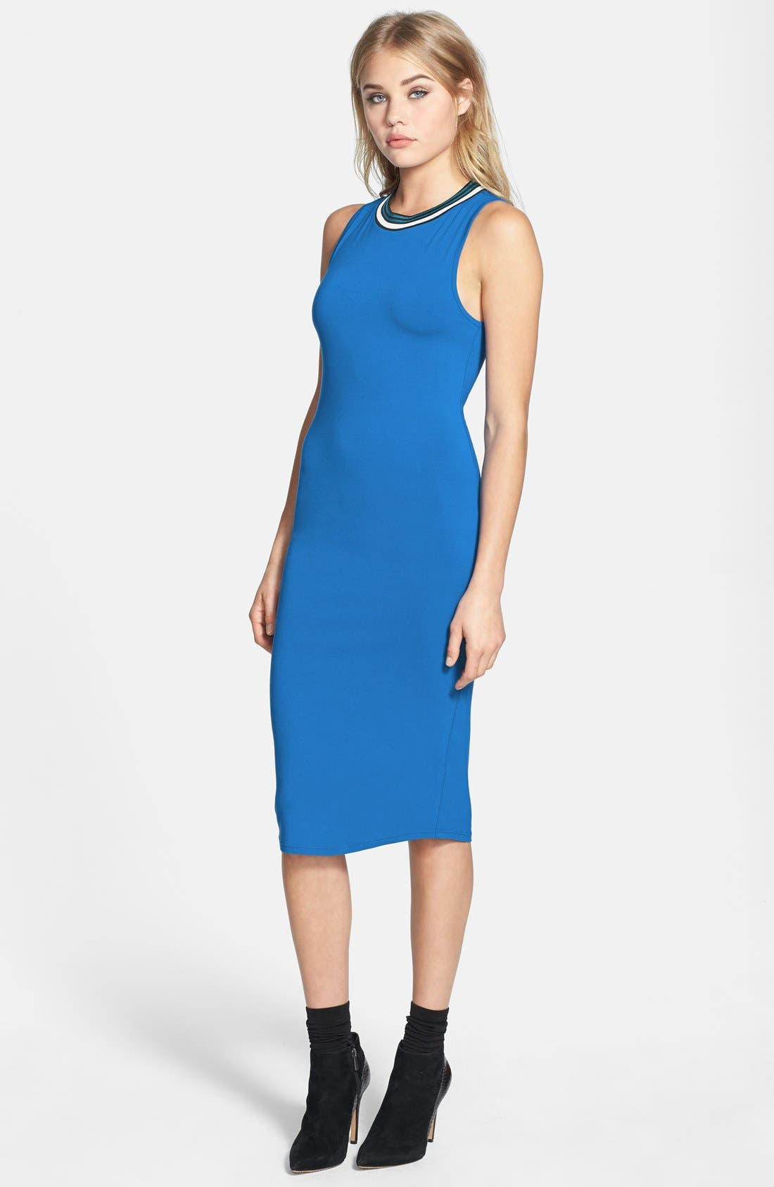 Main Image - Topshop Contrast Trim Jersey Midi Dress (Nordstrom Exclusive)