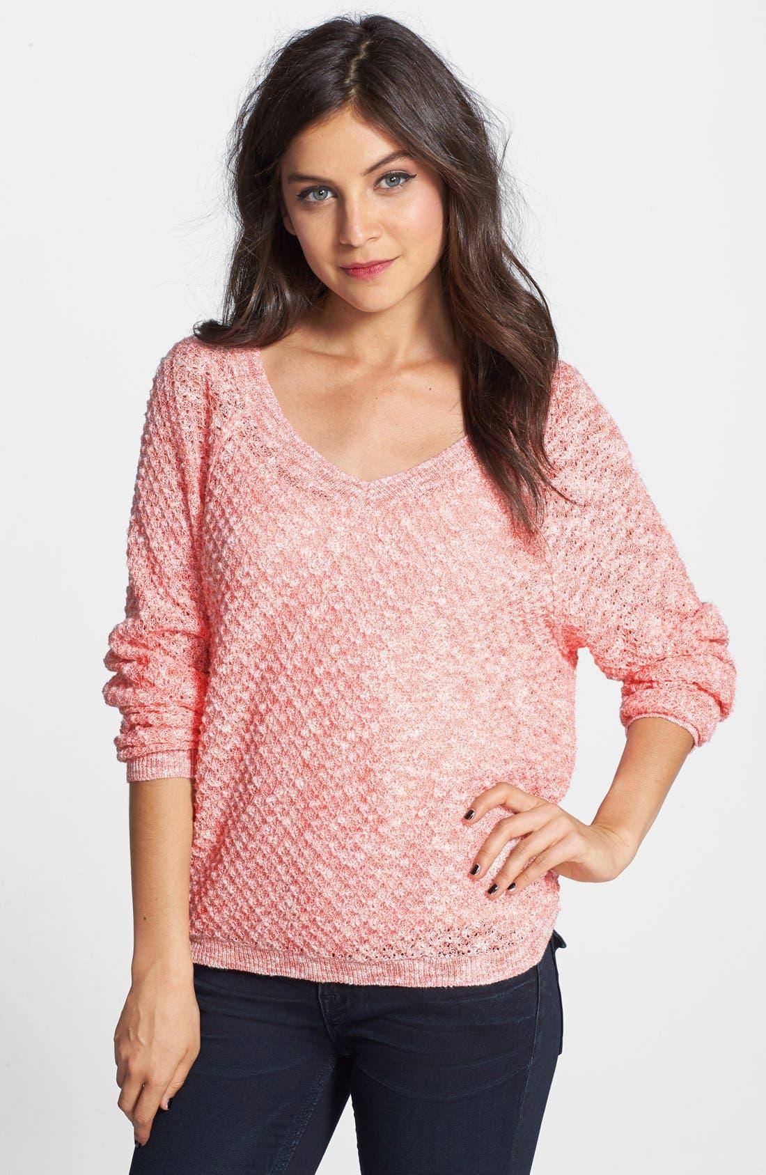 Main Image - BP. Slubbed Dolman Sleeve V-Neck Sweater (Juniors)