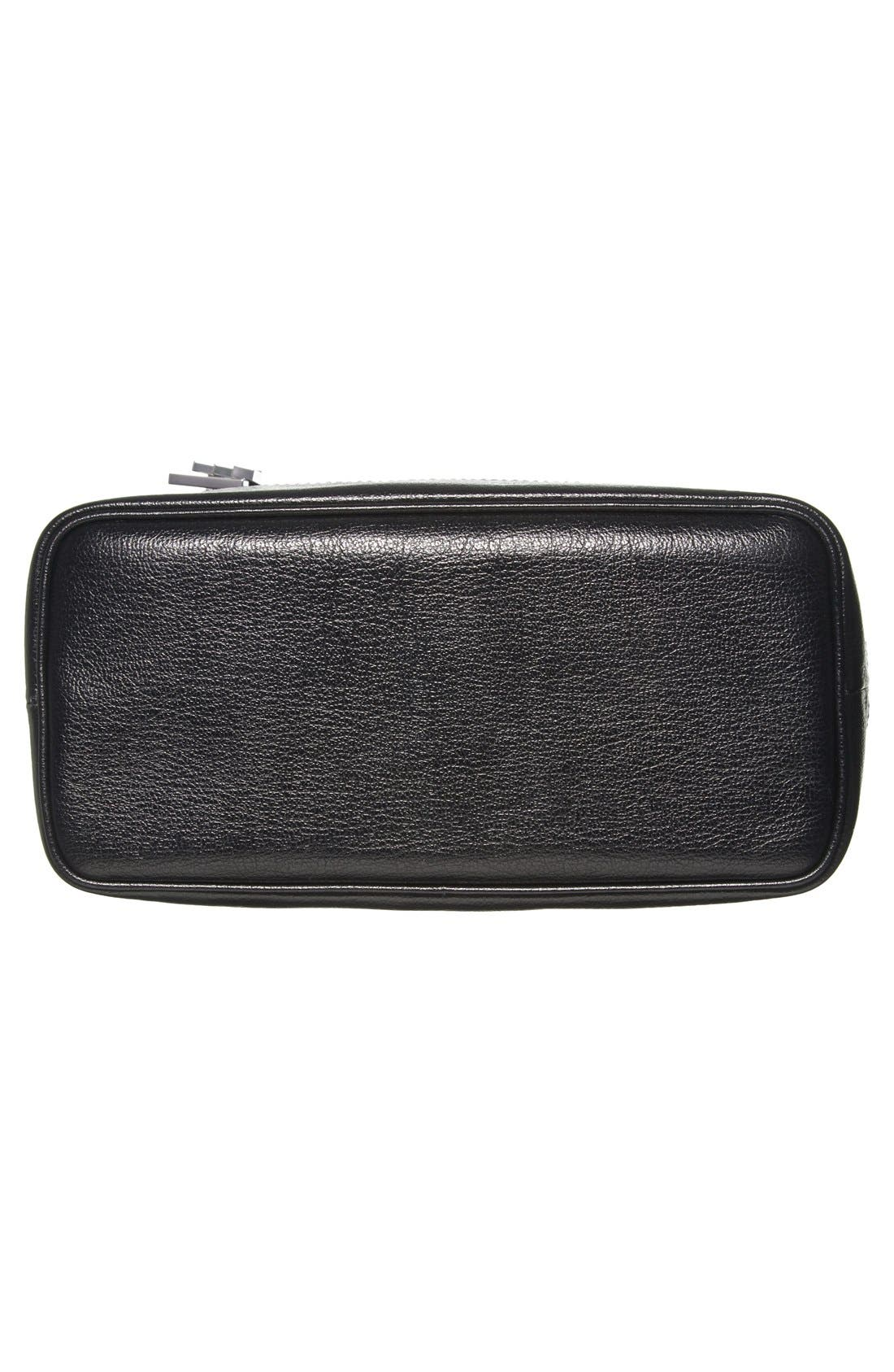 Leather Bucket Crossbody Bag,                             Alternate thumbnail 6, color,                             Black/ Palladium