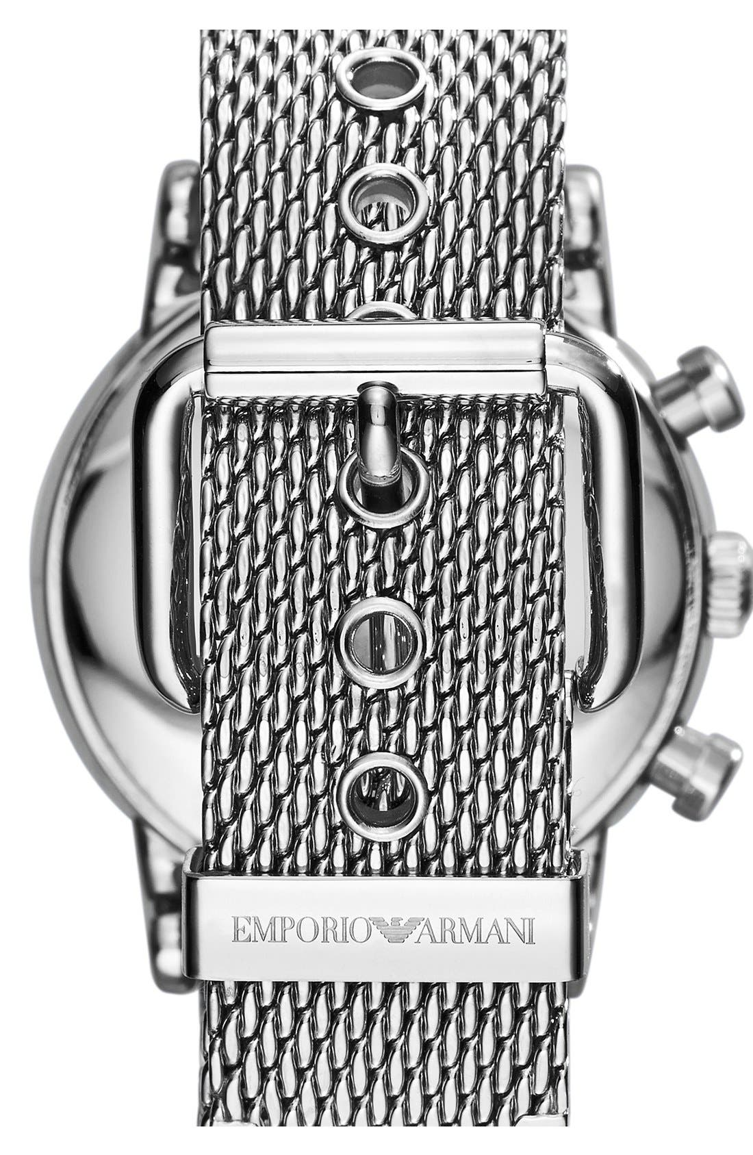 Alternate Image 2  - Emporio Armani Chronograph Mesh Strap Watch, 46mm