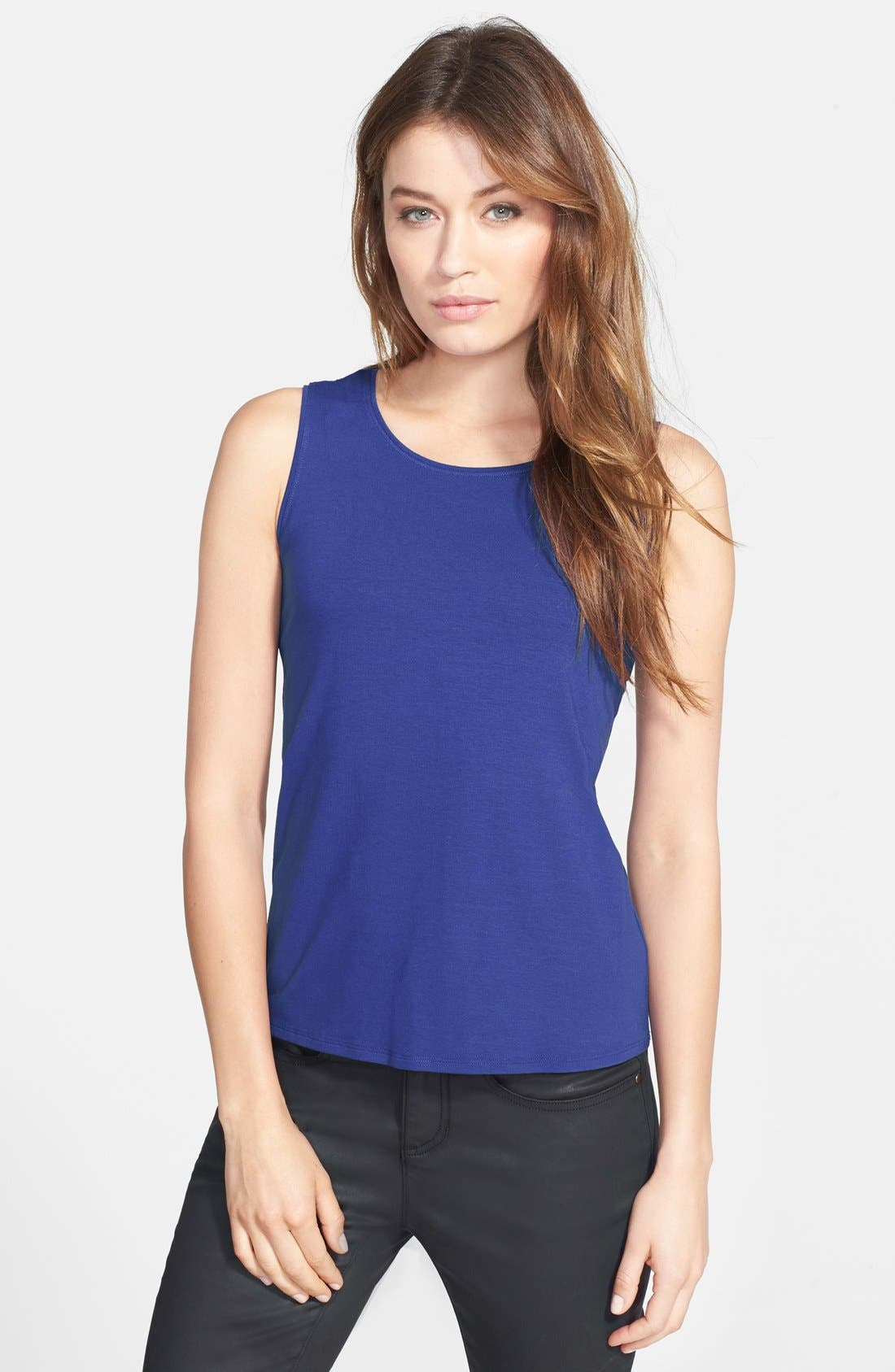 Alternate Image 1 Selected - Eileen Fisher Jewel Neck Shell