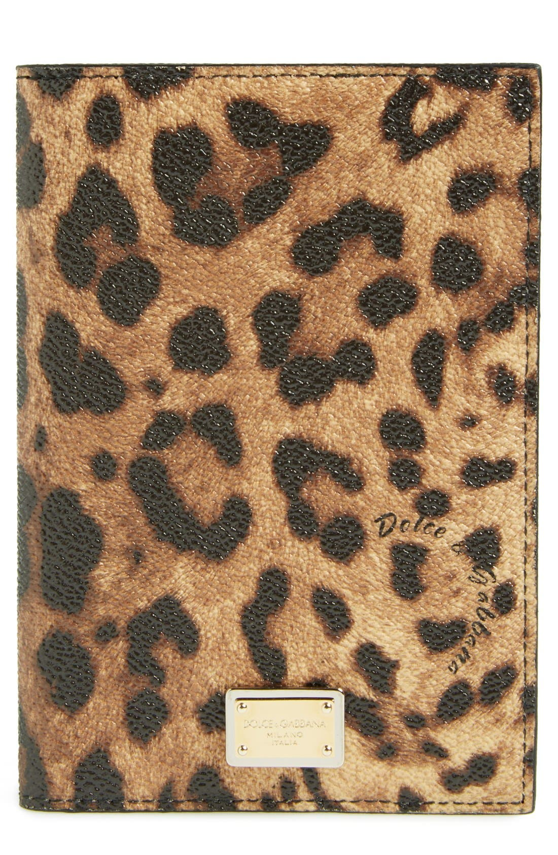 Alternate Image 1 Selected - Dolce&Gabbana Leopard Print Passport Cover