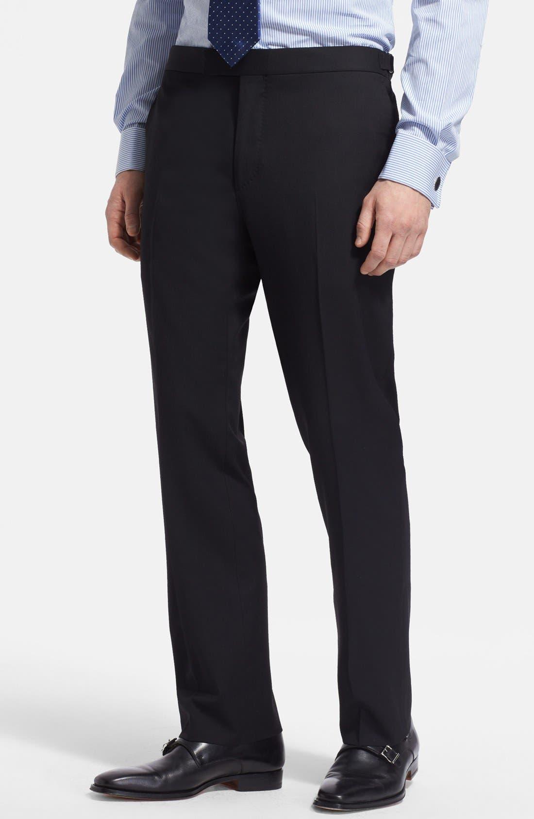 Alternate Image 5  - Ralph Lauren Black Label Trim Fit Black Wool Suit