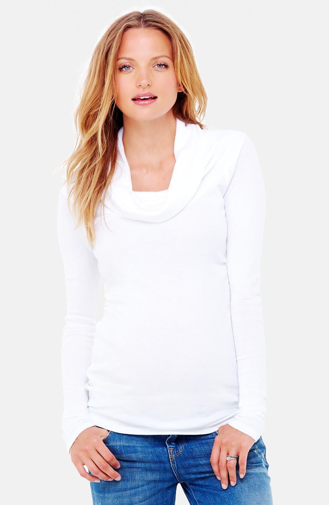 Cowl Neck Maternity Tee,                         Main,                         color, Bright White