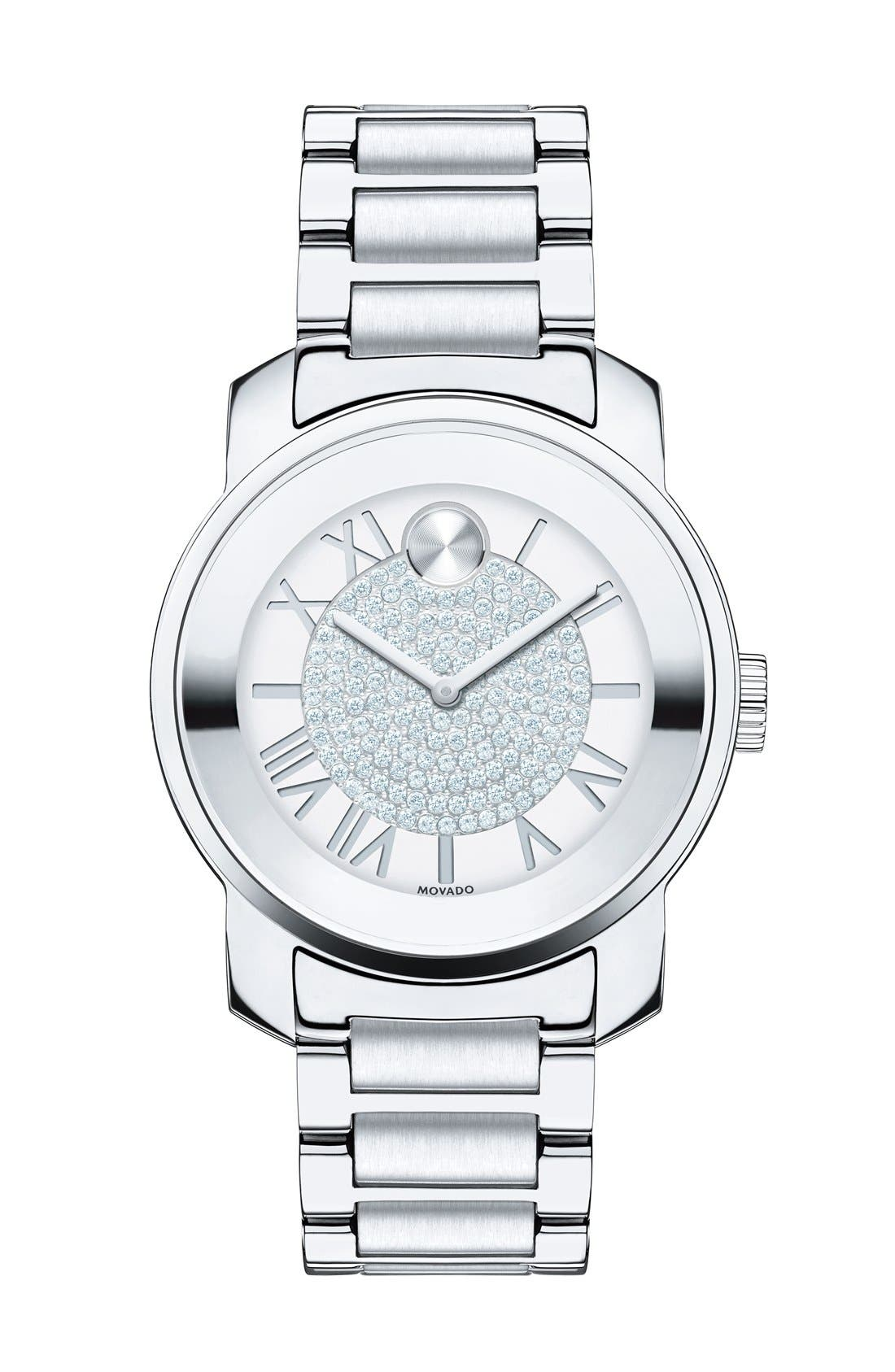 'Bold' Crystal Dial Bracelet Watch, 32mm,                             Main thumbnail 1, color,                             Silver