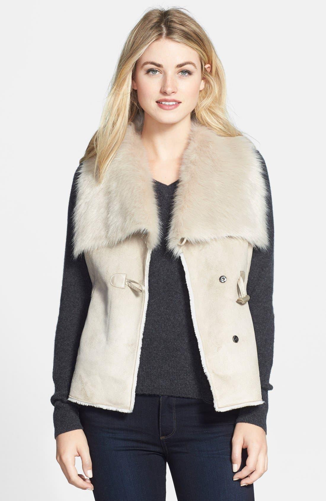 NIC+ZOE 'Fabulous' Faux Fur & Faux Suede Vest (Regular & Petite)
