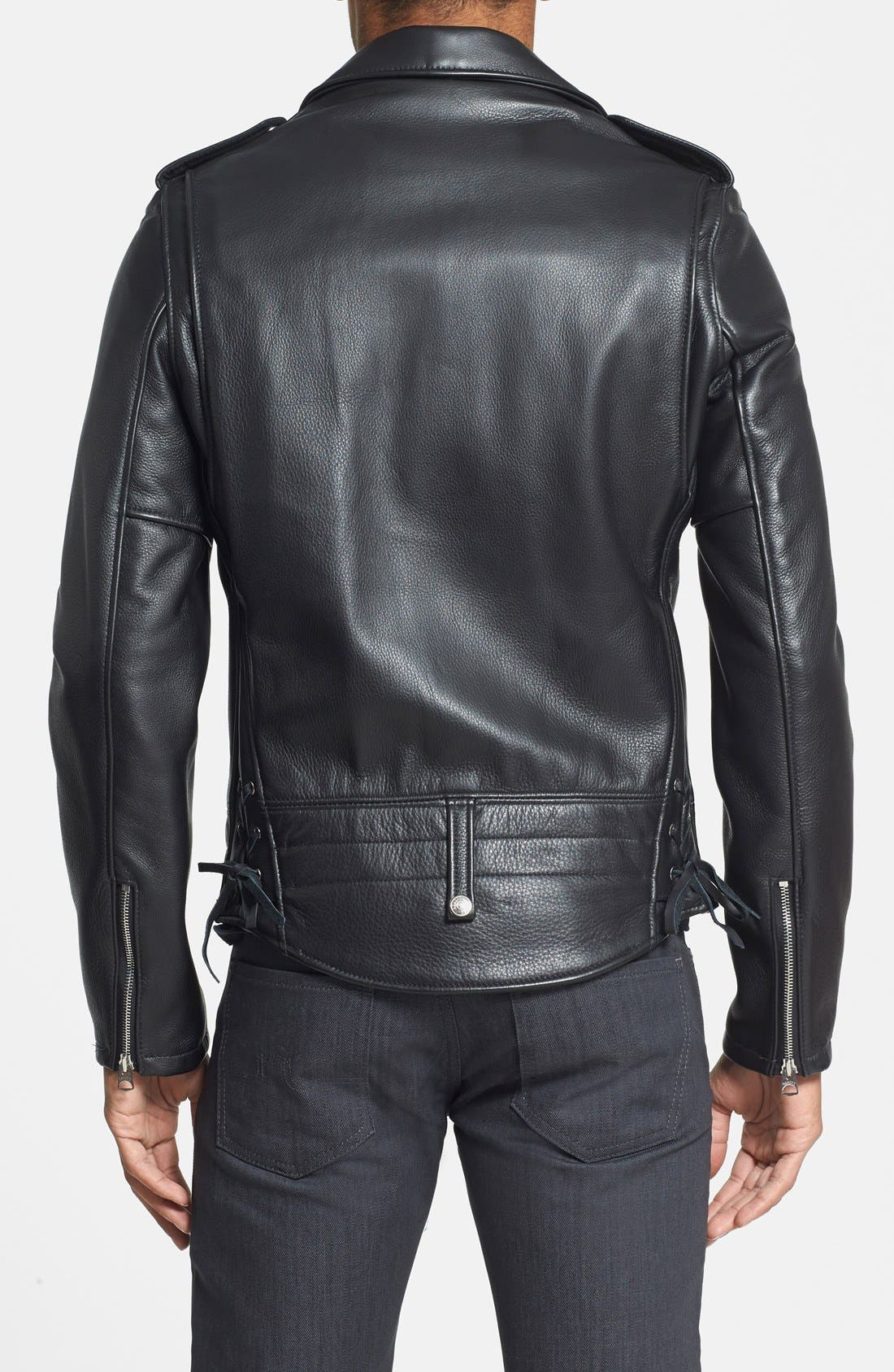 'Chips' Slim Fit Moto Leather Jacket,                             Alternate thumbnail 2, color,                             Black