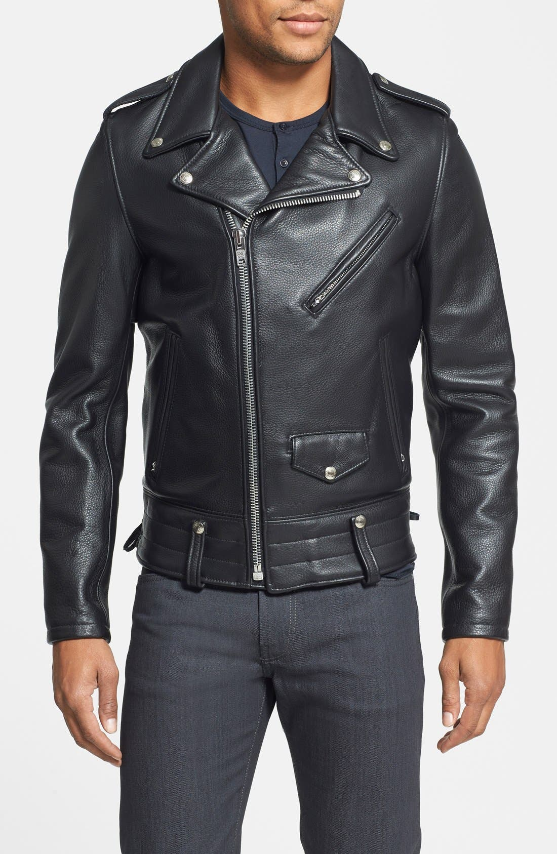 'Chips' Slim Fit Moto Leather Jacket,                             Main thumbnail 1, color,                             Black
