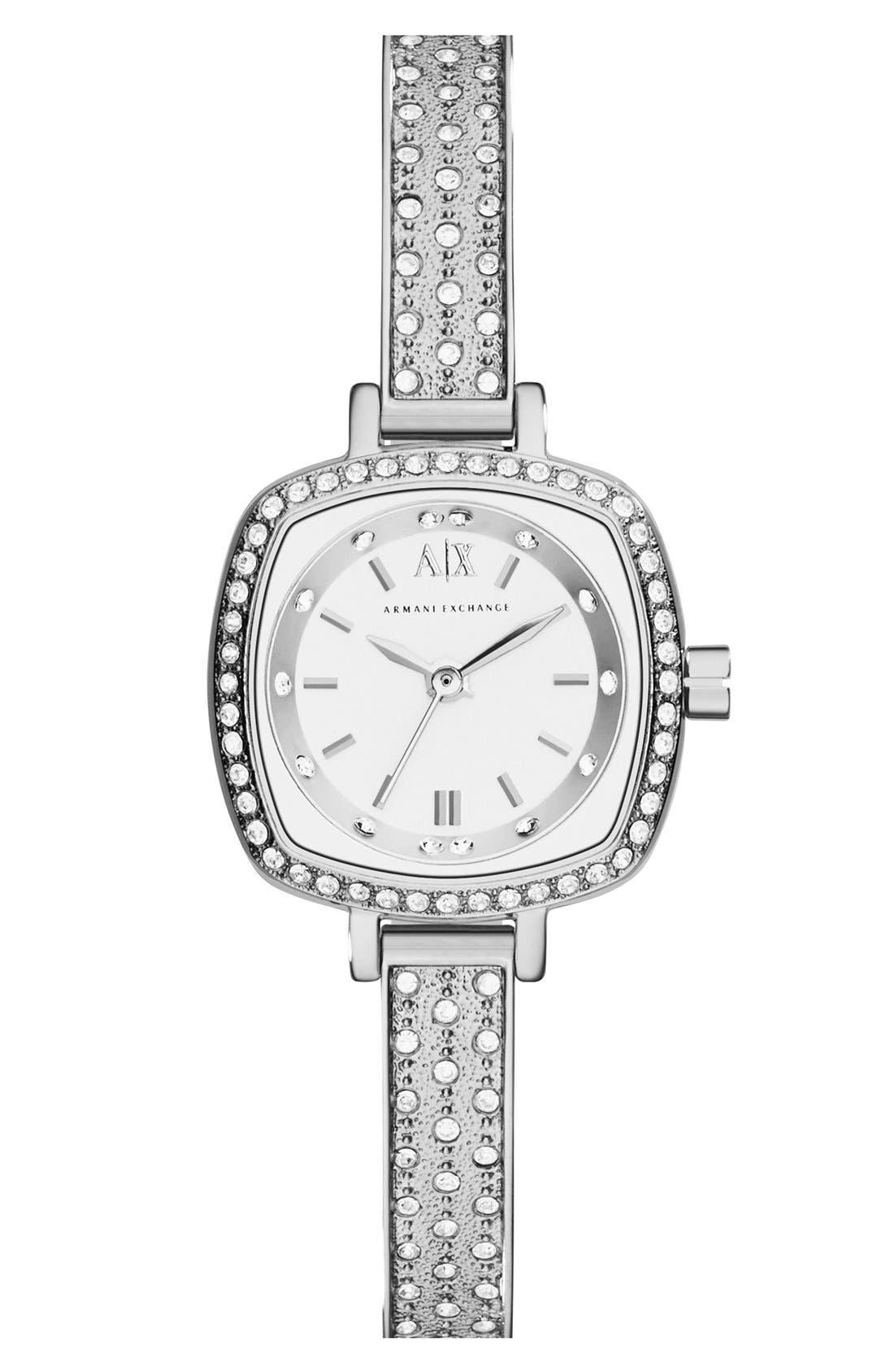Main Image - AX Armani Exchange Crystal Encrusted Bangle Watch, 22mm