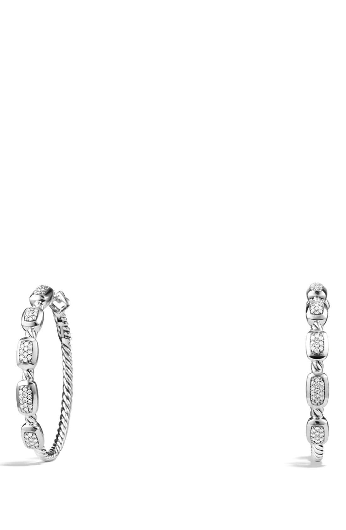 'Confetti' Hoop Earrings with Diamonds,                             Main thumbnail 1, color,                             Diamond