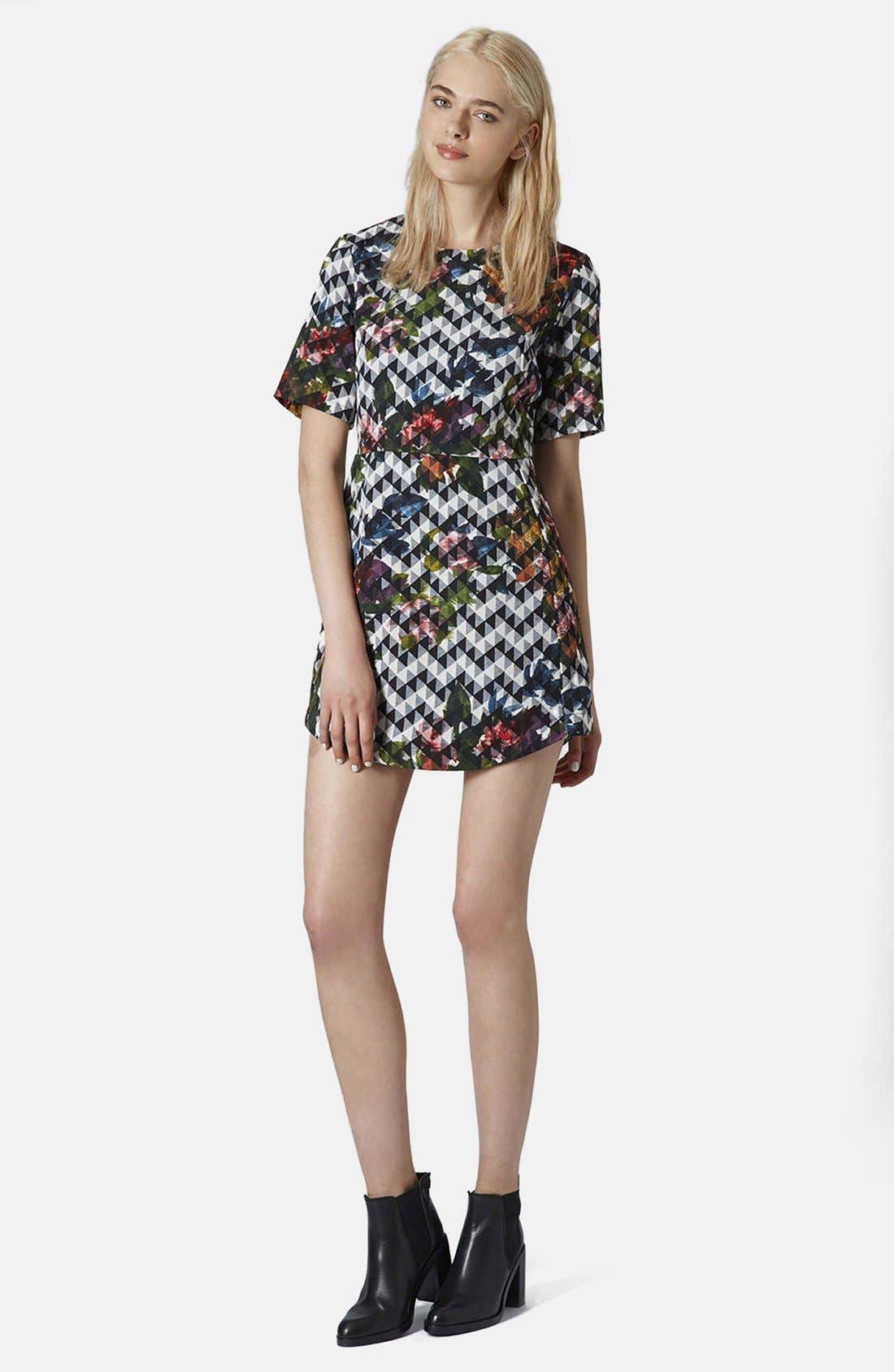 Alternate Image 4  - Topshop Blurred Jacquard A-Line Dress
