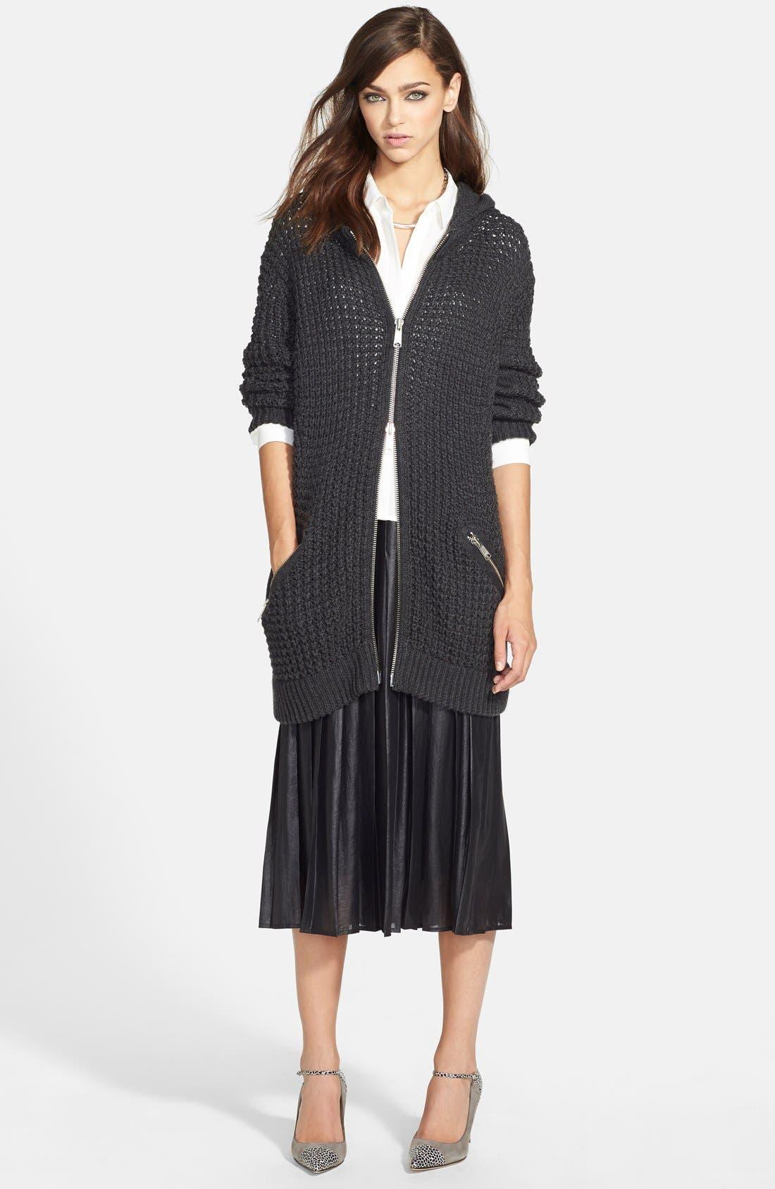 Pleat Midi Skirt,                             Alternate thumbnail 8, color,                             Coated Black