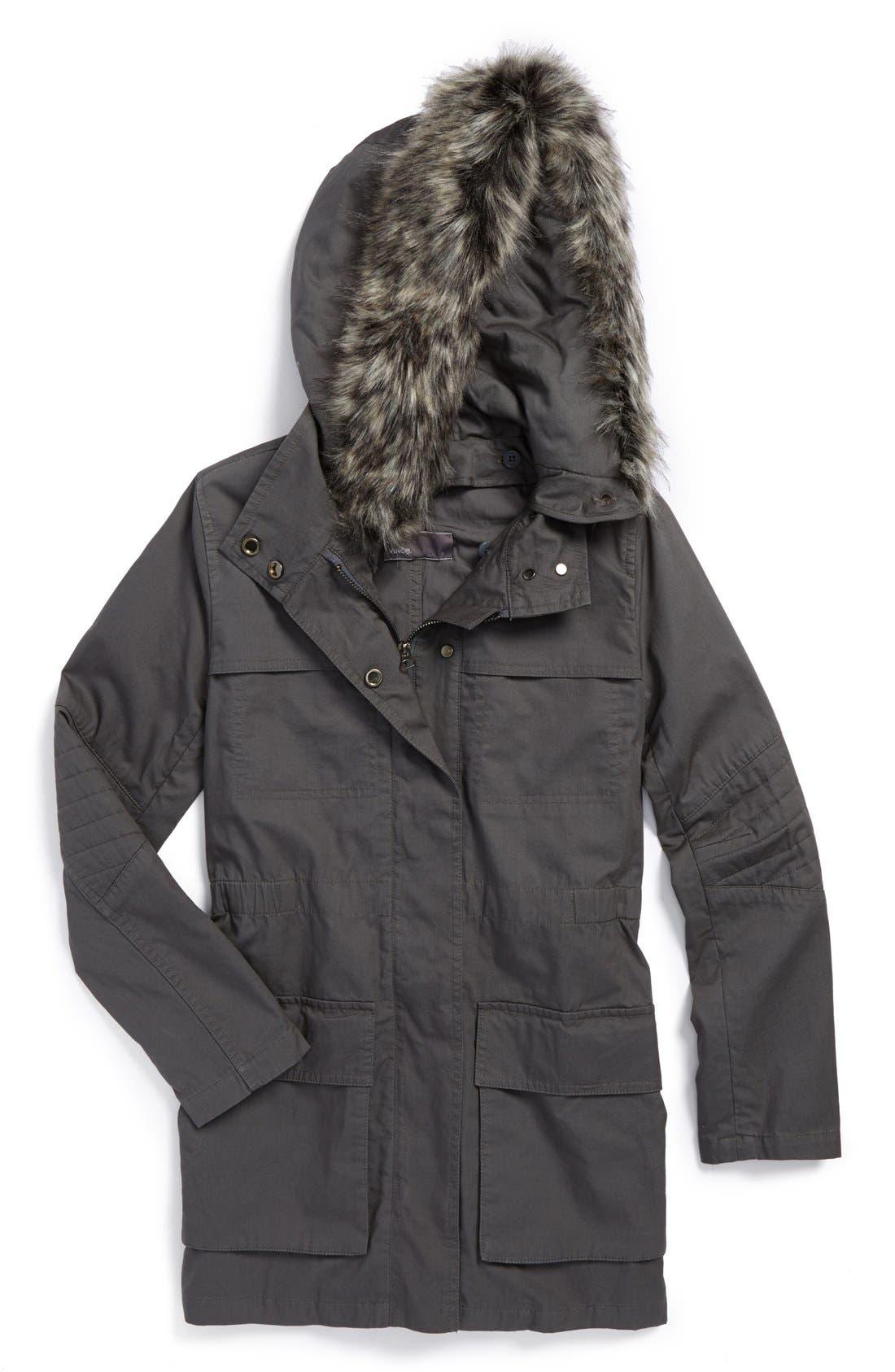 Alternate Image 1 Selected - Vince Hooded Jacket (Big Girls)