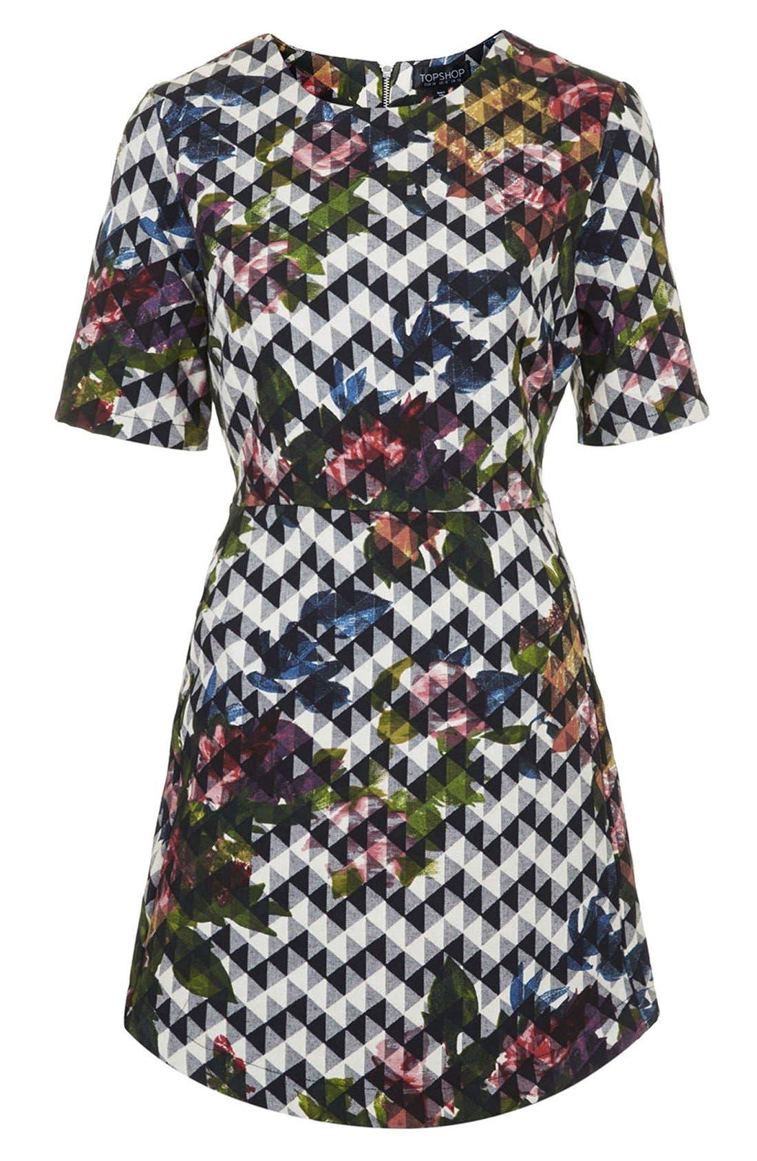 Alternate Image 3  - Topshop Blurred Jacquard A-Line Dress