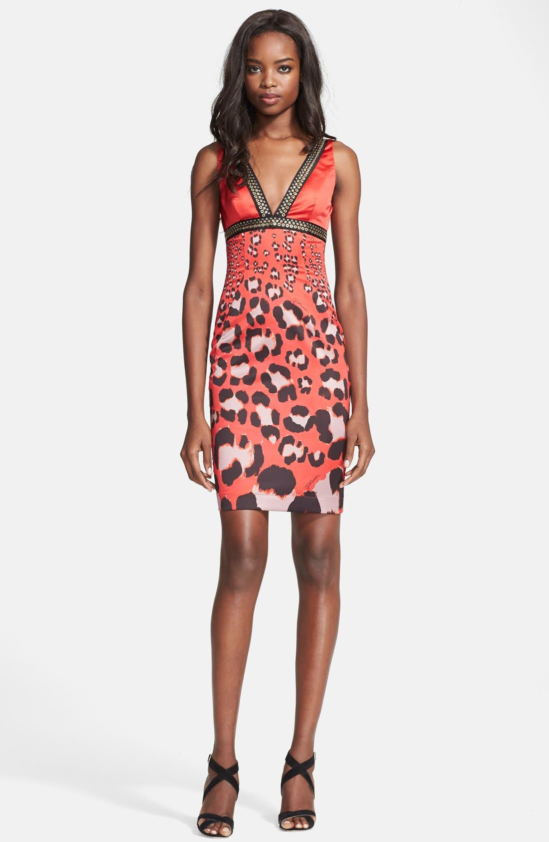 Main Image - Just Cavalli Embellished Print Satin Sheath Dress