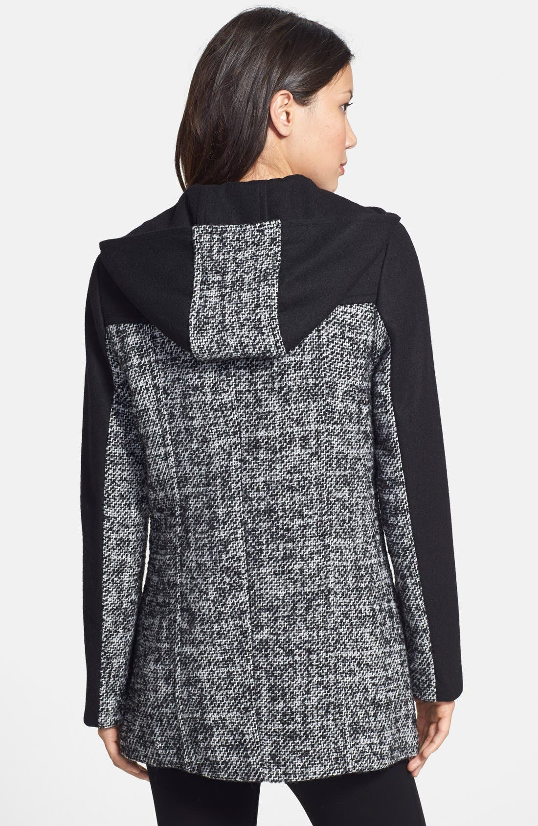 Alternate Image 2  - Ellen Tracy Colorblock Tweed Car Coat (Regular & Petite) (Online Only)