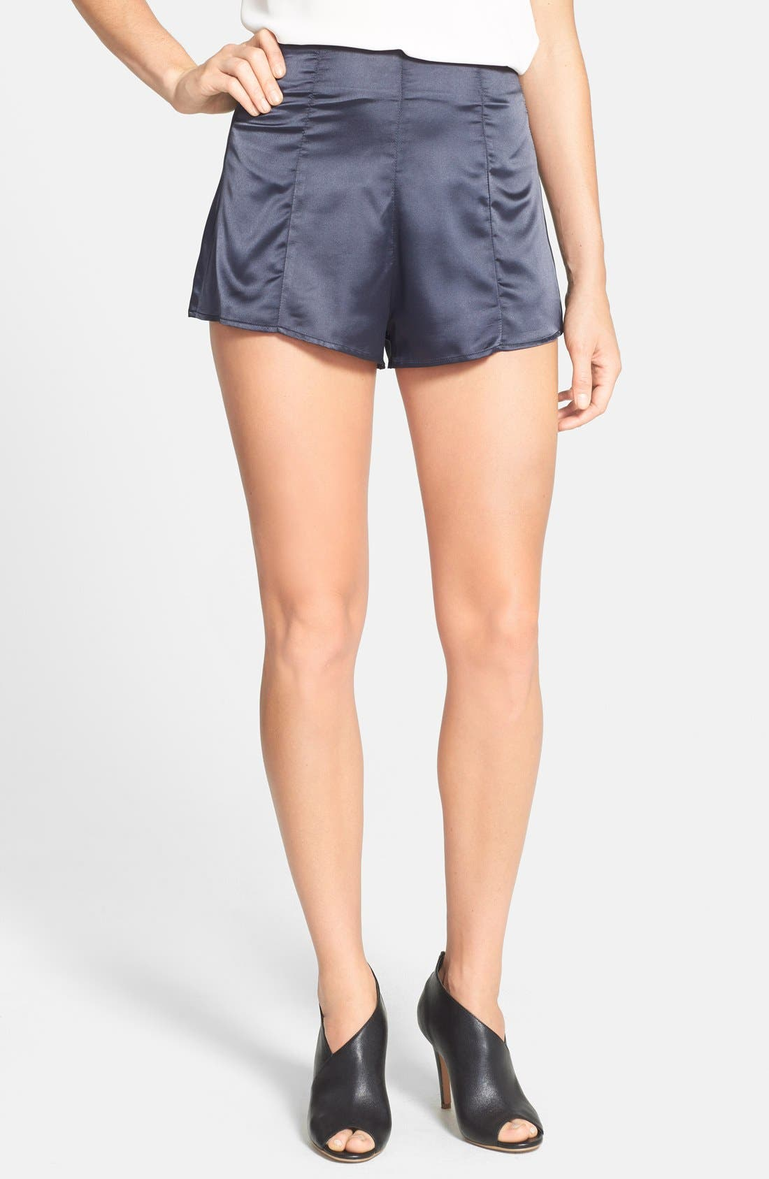 High Waist Satin Shorts,                         Main,                         color, Navy