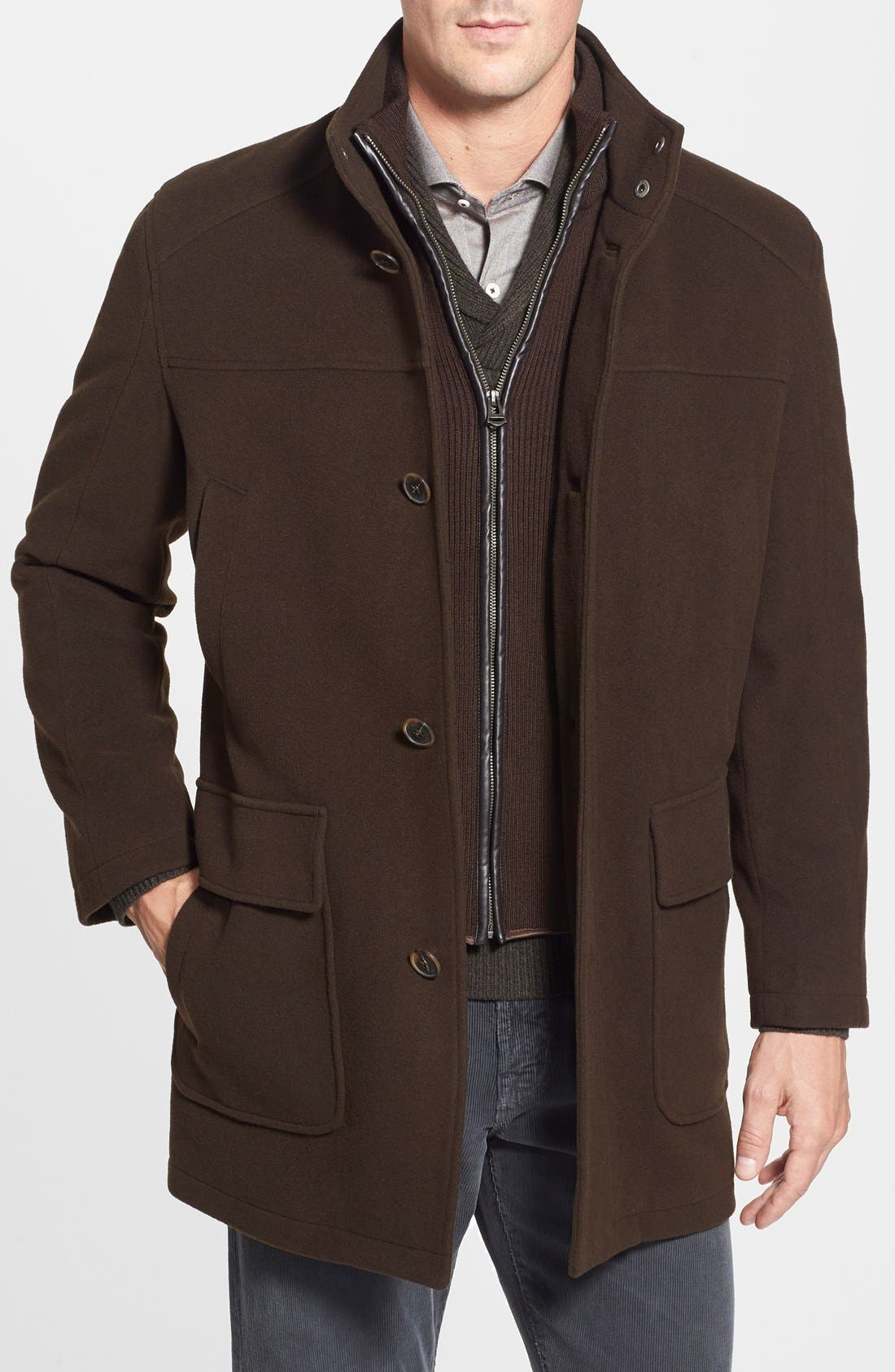 Wool Blend Topcoat with Inset Bib,                         Main,                         color, Espresso