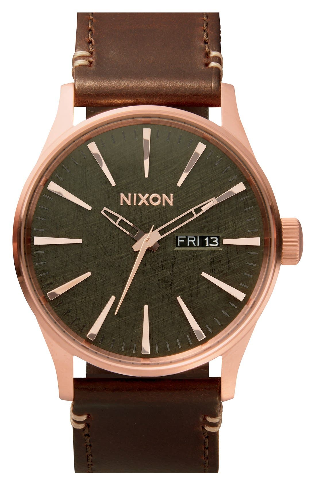 'The Sentry' Leather Strap Watch, 42mm,                         Main,                         color, Brown/ Rose Gold/ Gunmetal