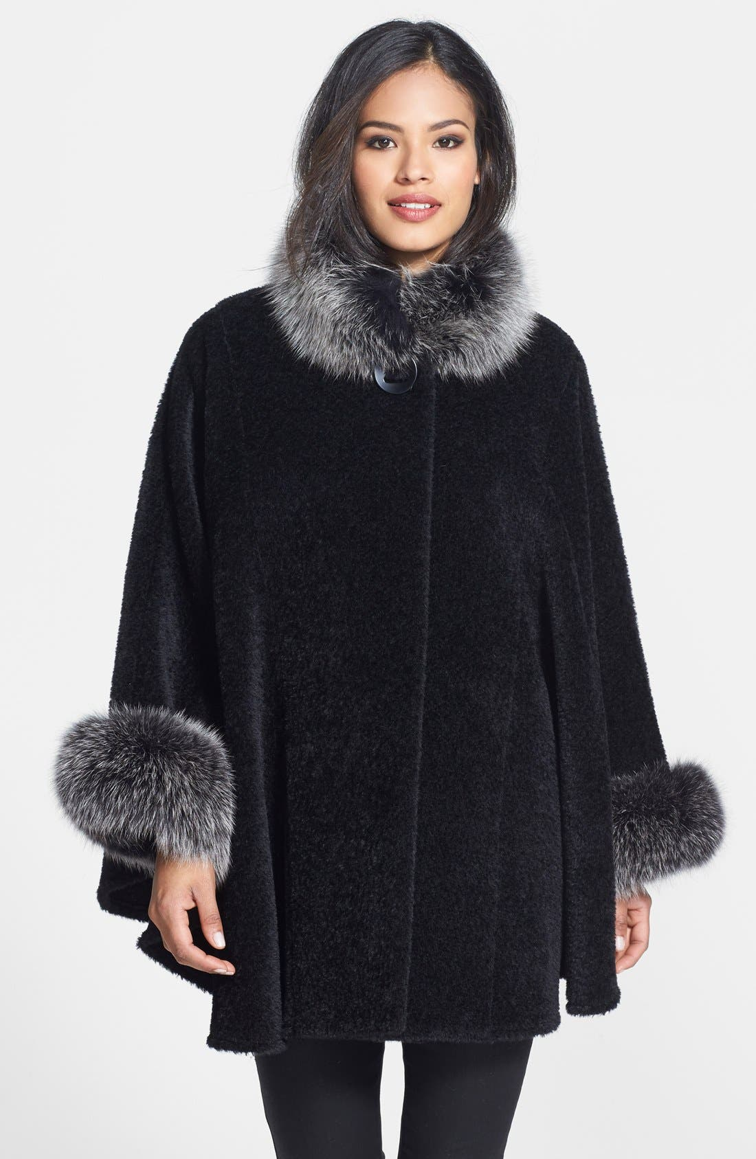 Blue Duck Genuine Fox Fur Trim Wool Blend Cape