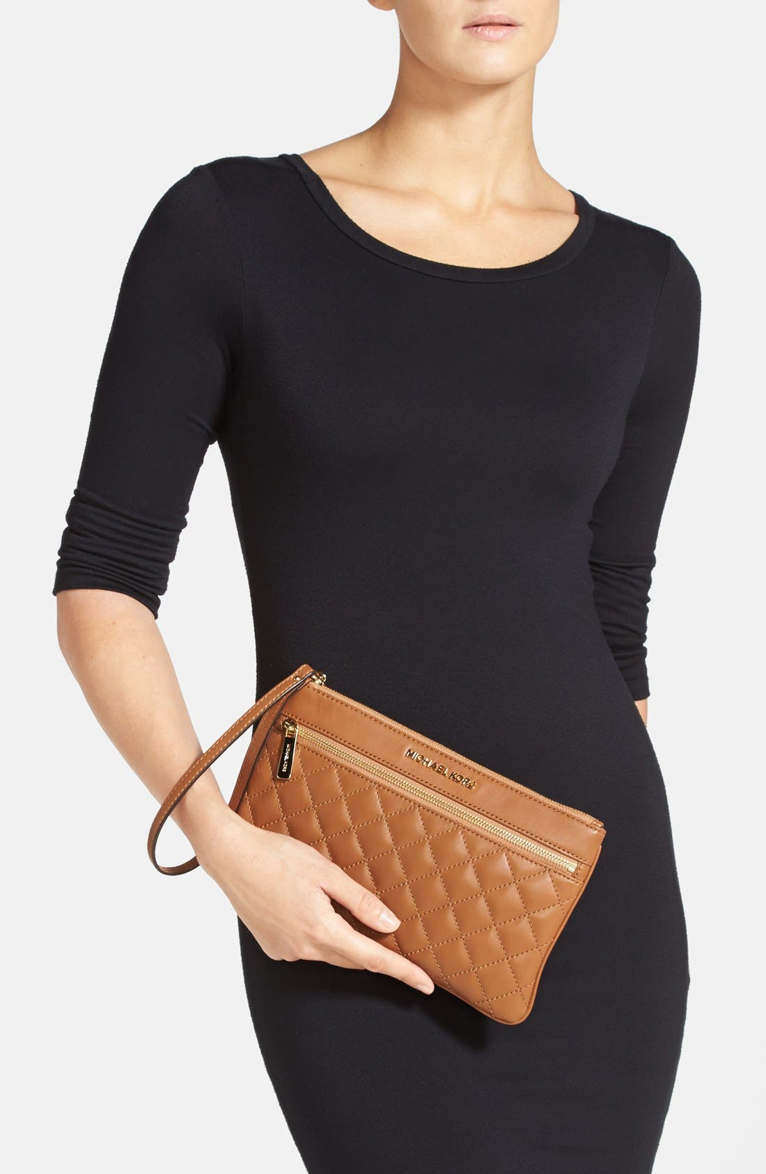 Alternate Image 4  - MICHAEL Michael Kors 'Selma' Quilted Leather Zip Clutch