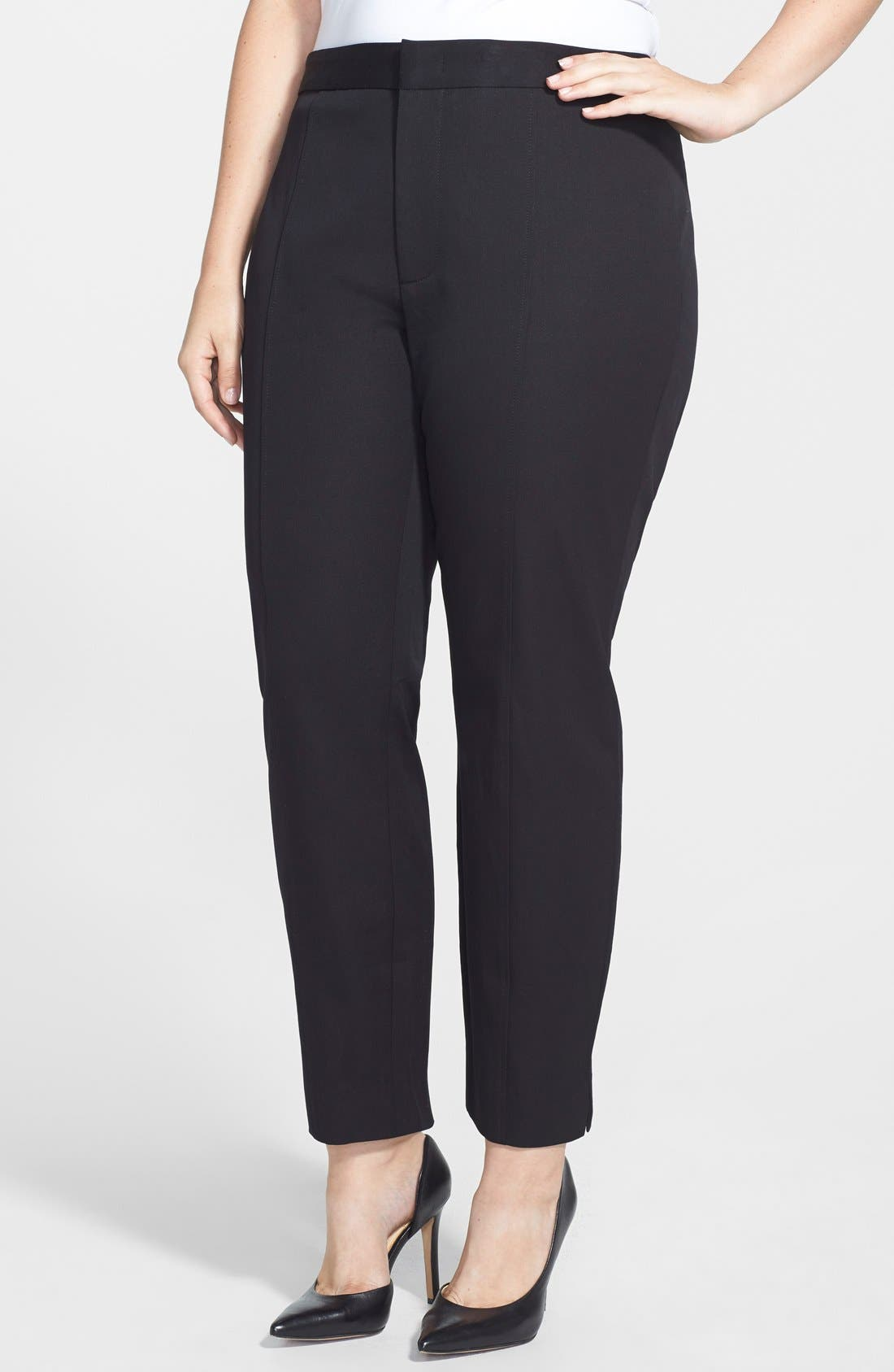 Alternate Image 1 Selected - NYDJ 'Fashion' Two-Way Stretch Slit Ankle Pants (Plus Size)