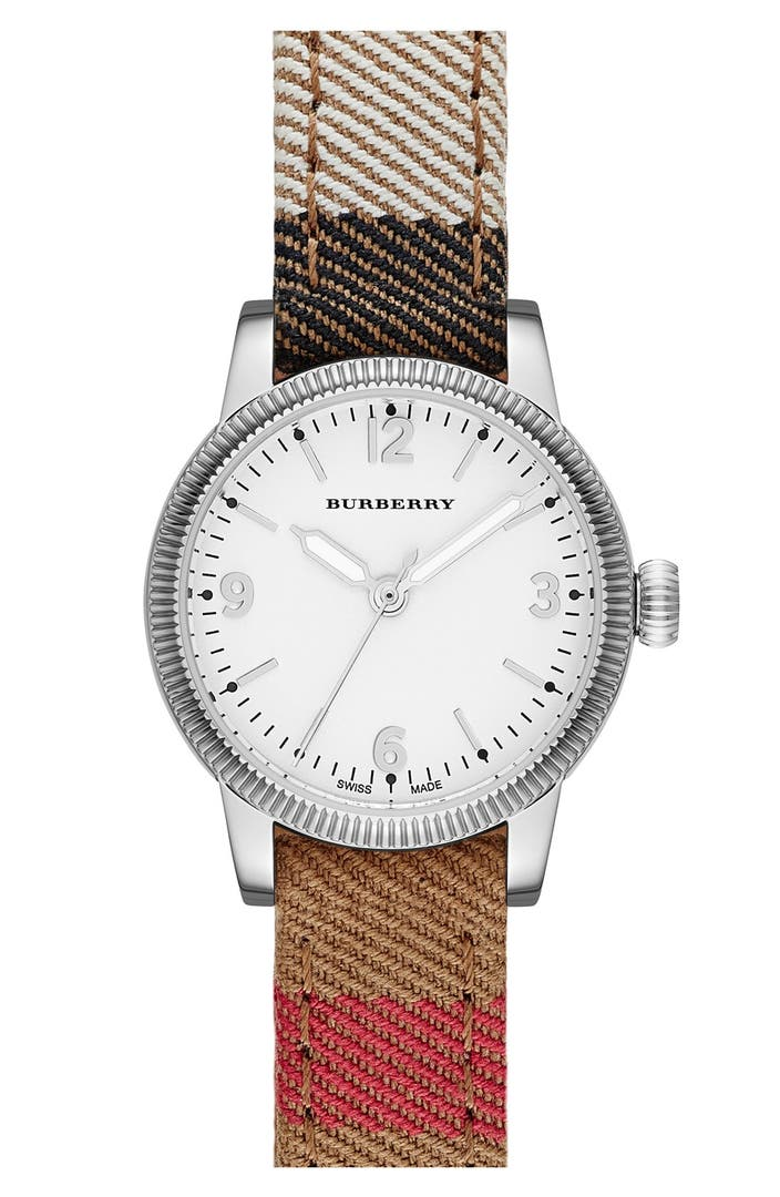 Burberry 39 utilitarian 39 check strap watch 30mm regular retail price nordstrom for Retail price watches