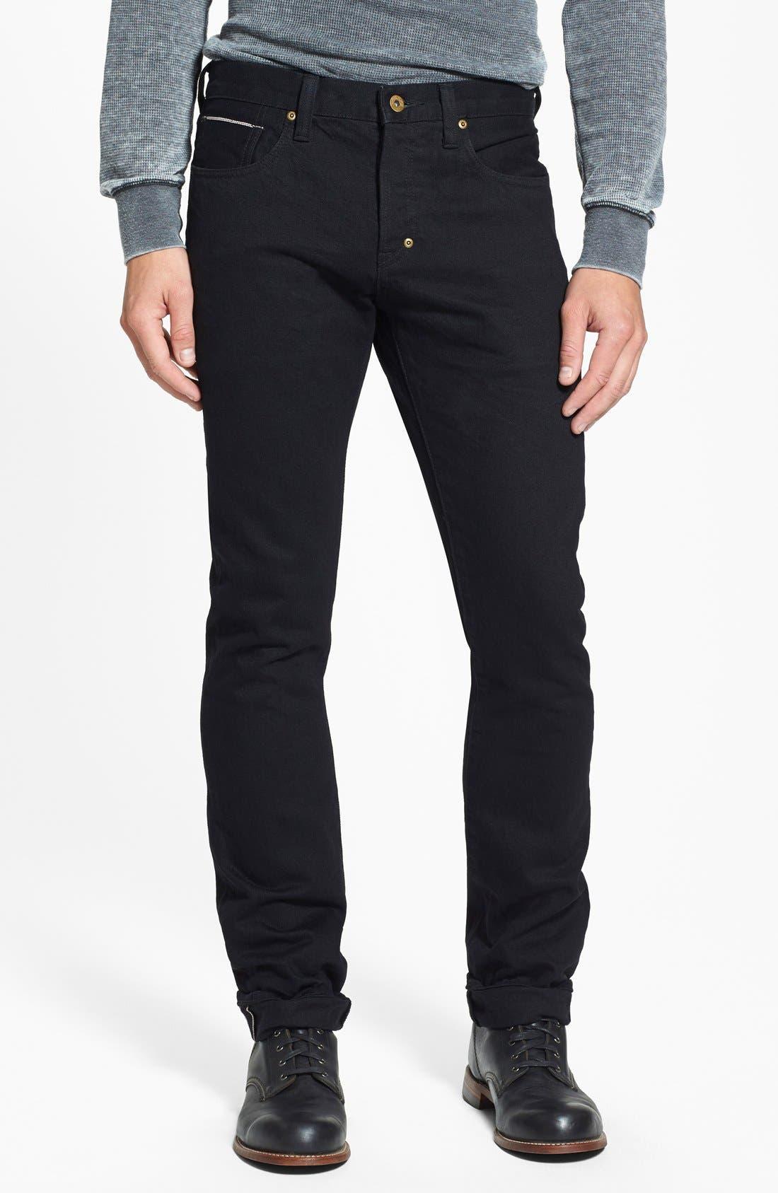 PRPS 'Demon' Slim Straight Leg Selvedge Jeans (Black Raw)