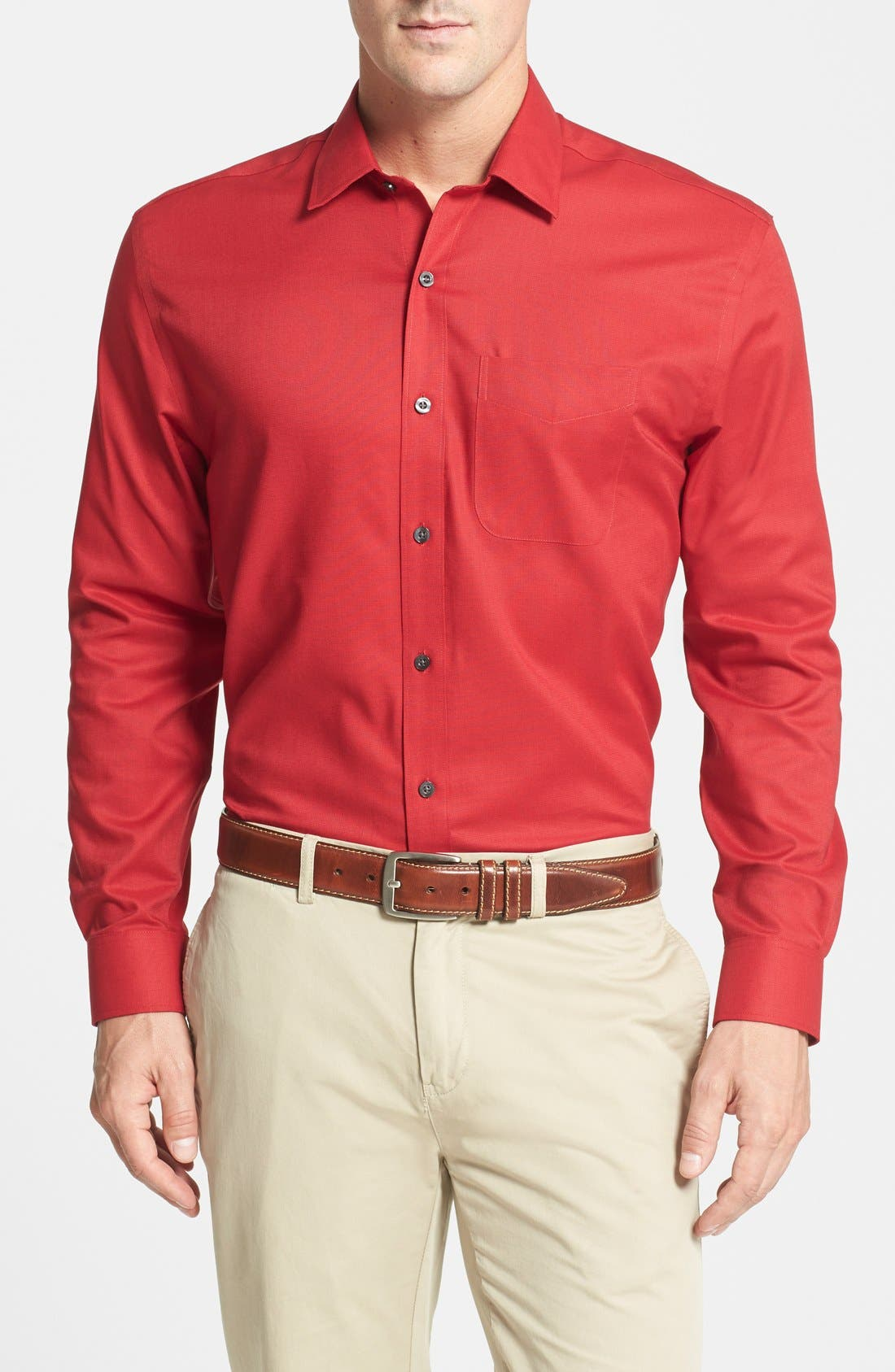 Epic Easy Care Classic Fit Wrinkle Free Sport Shirt,                             Main thumbnail 1, color,                             Cardinal Red